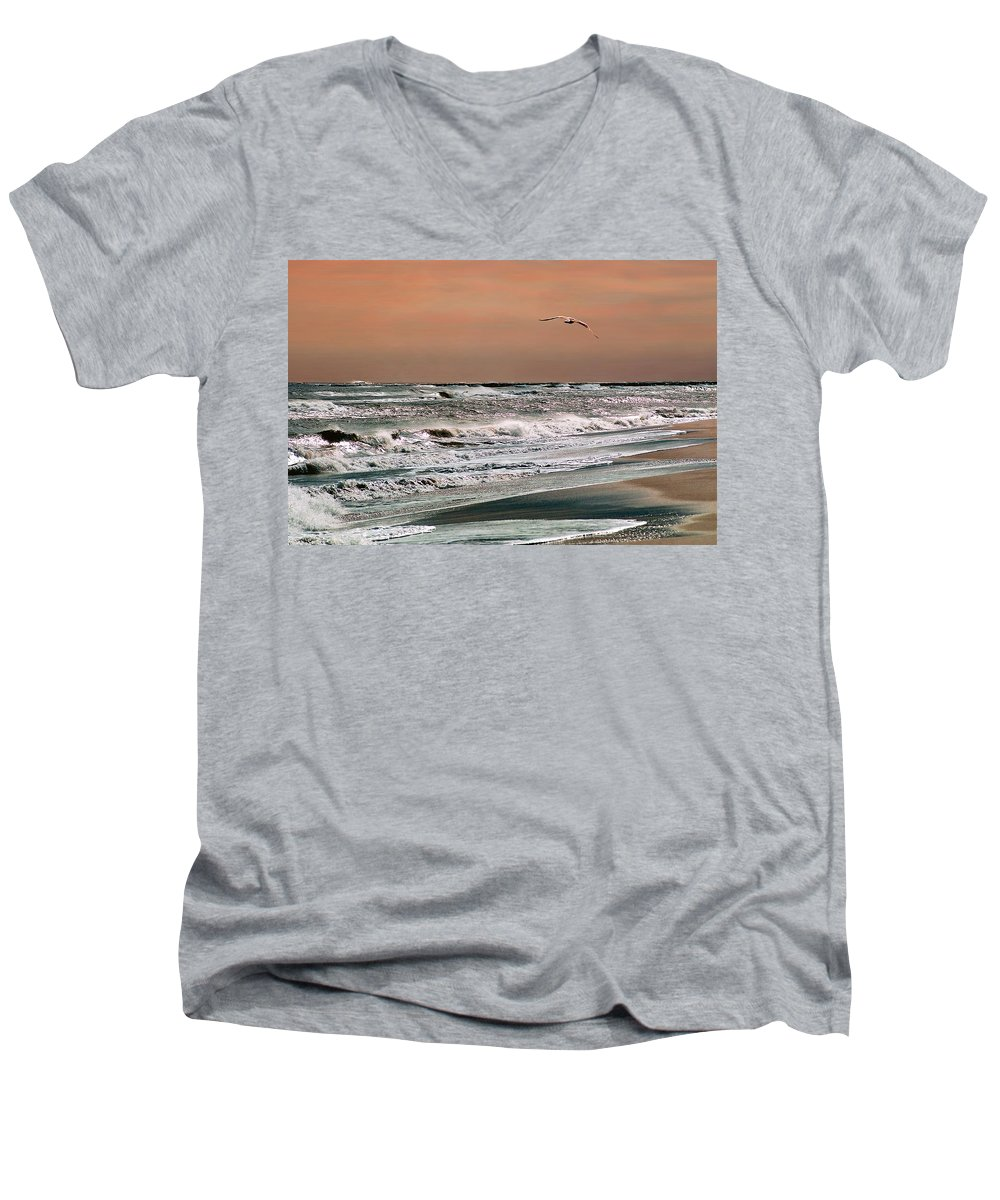 Seascape Men's V-Neck T-Shirt featuring the photograph Golden Shore by Steve Karol
