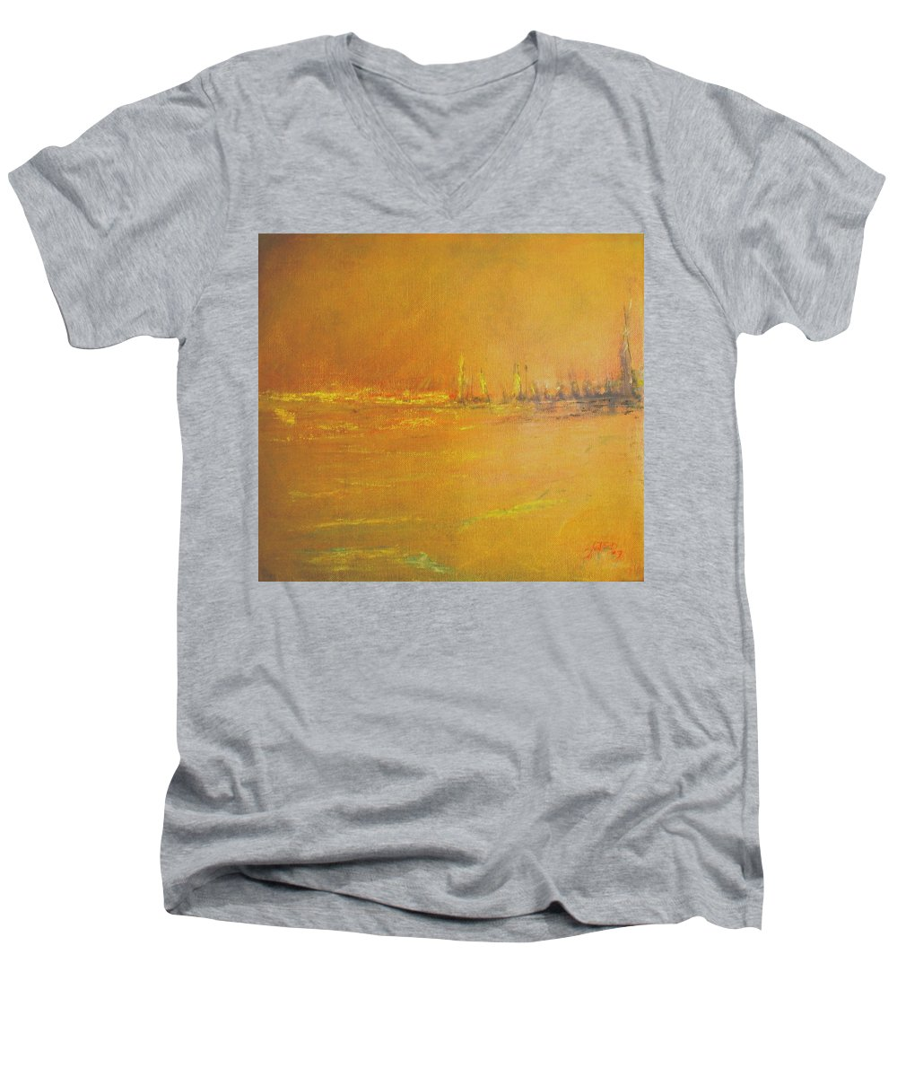 Ships Men's V-Neck T-Shirt featuring the painting Golden Sky by Jack Diamond