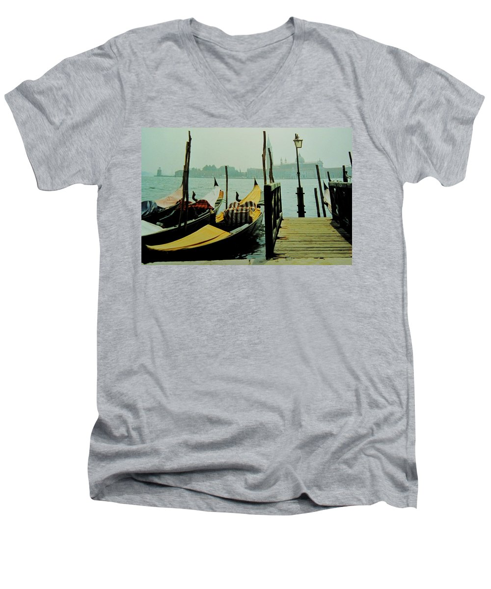 Venice Men's V-Neck T-Shirt featuring the photograph Gondolas by Ian MacDonald