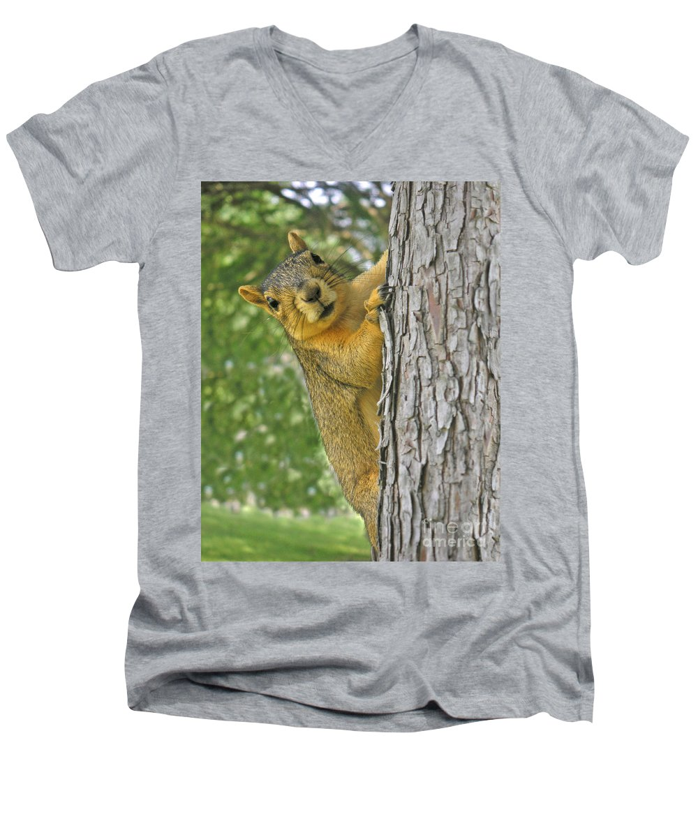 Nature Men's V-Neck T-Shirt featuring the photograph Good Morning by Lucyna A M Green