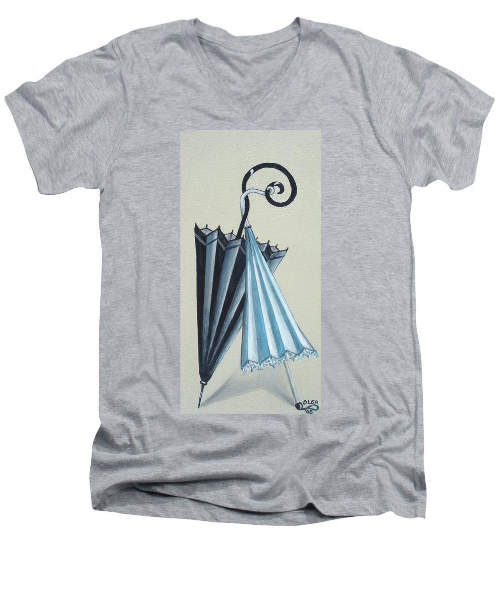 Umbrellas Men's V-Neck T-Shirt featuring the painting Goog Morning by Olga Alexeeva