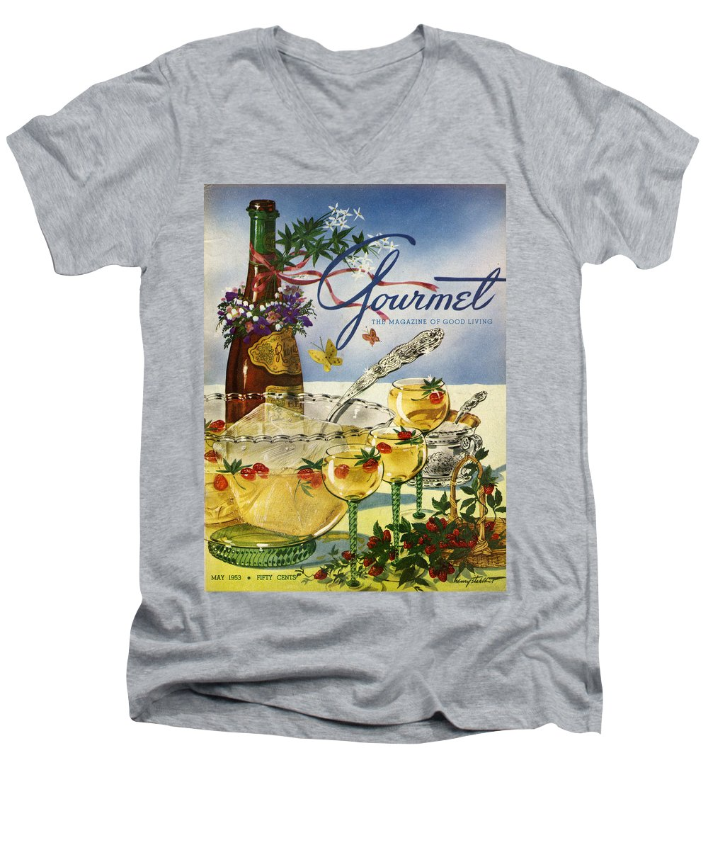 Illustration Men's V-Neck T-Shirt featuring the photograph Gourmet Cover Featuring A Bowl And Glasses by Henry Stahlhut
