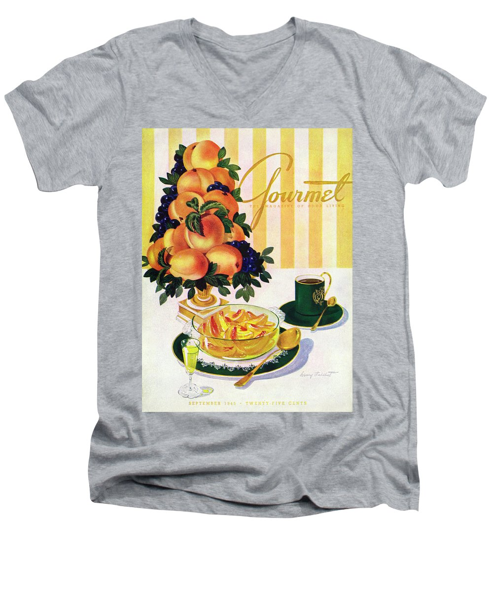 Illustration Men's V-Neck T-Shirt featuring the photograph Gourmet Cover Featuring A Centerpiece Of Peaches by Henry Stahlhut