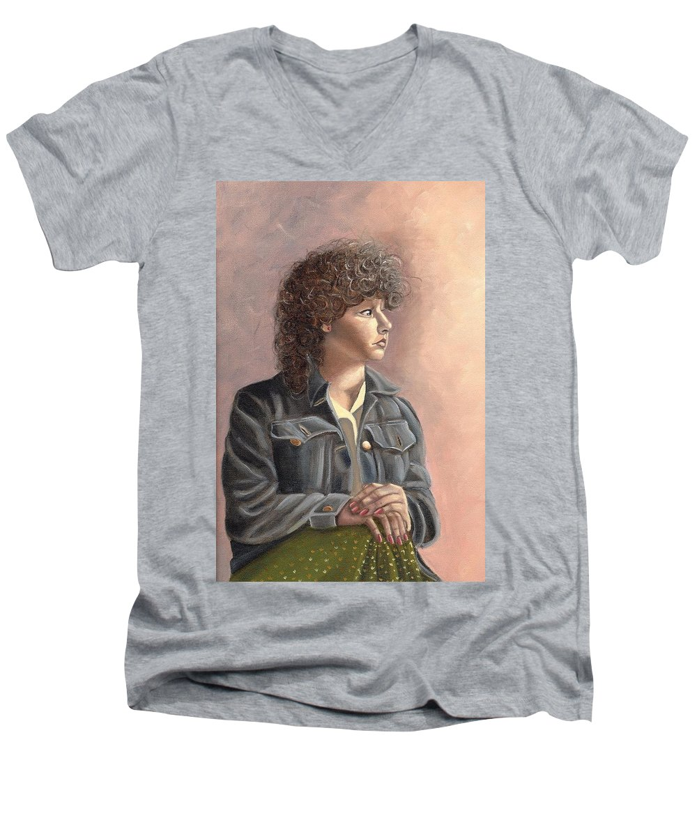 Men's V-Neck T-Shirt featuring the painting Grace by Toni Berry