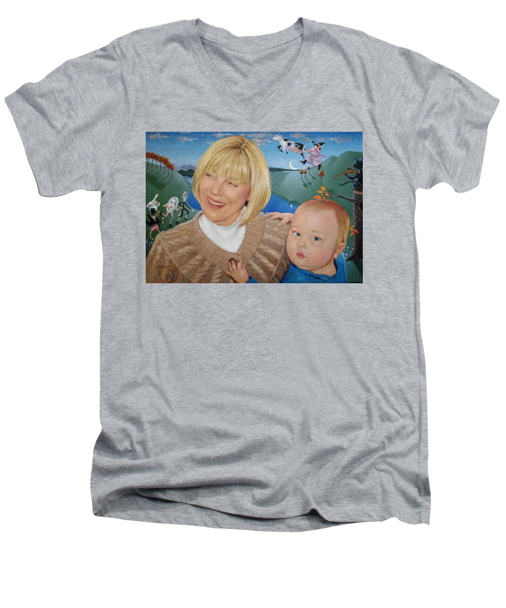 Portrait Men's V-Neck T-Shirt featuring the painting Grandma And Kaidin by Jerrold Carton