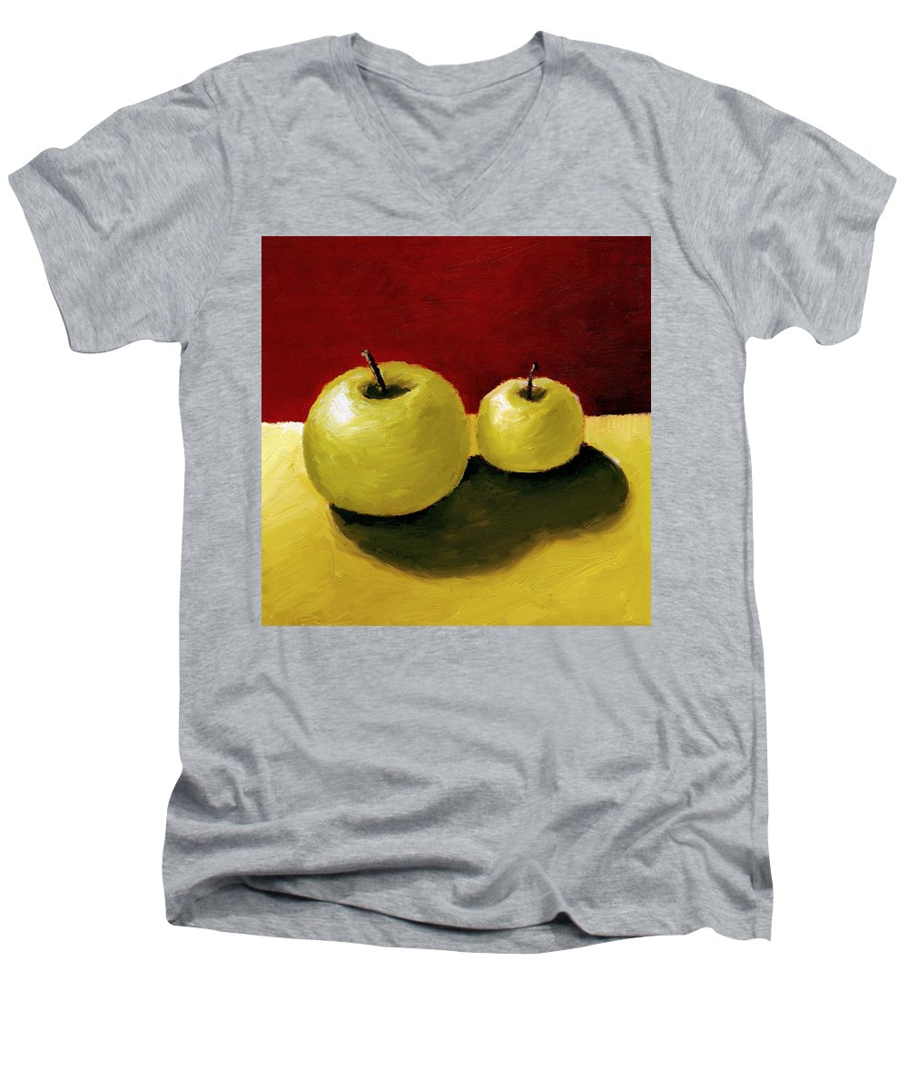 Apple Men's V-Neck T-Shirt featuring the painting Granny Smith Apples by Michelle Calkins
