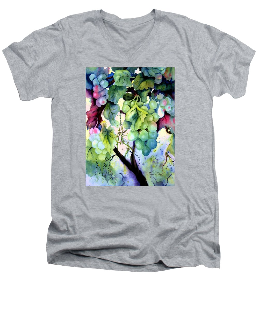 Grapes Men's V-Neck T-Shirt featuring the painting Grapes II by Karen Stark