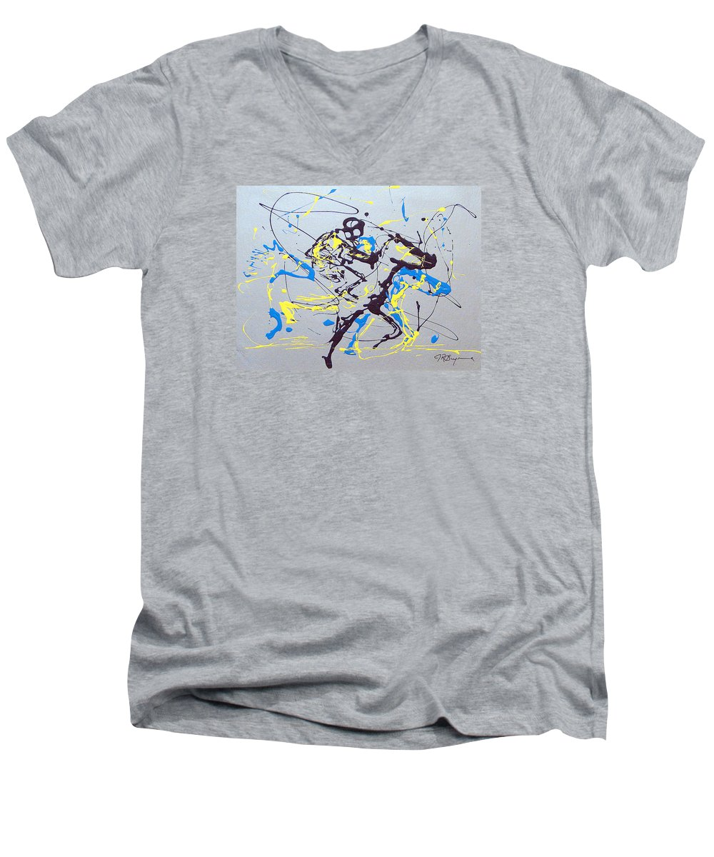 Kentucky Derby Men's V-Neck T-Shirt featuring the painting Great Day In Kentucky by J R Seymour