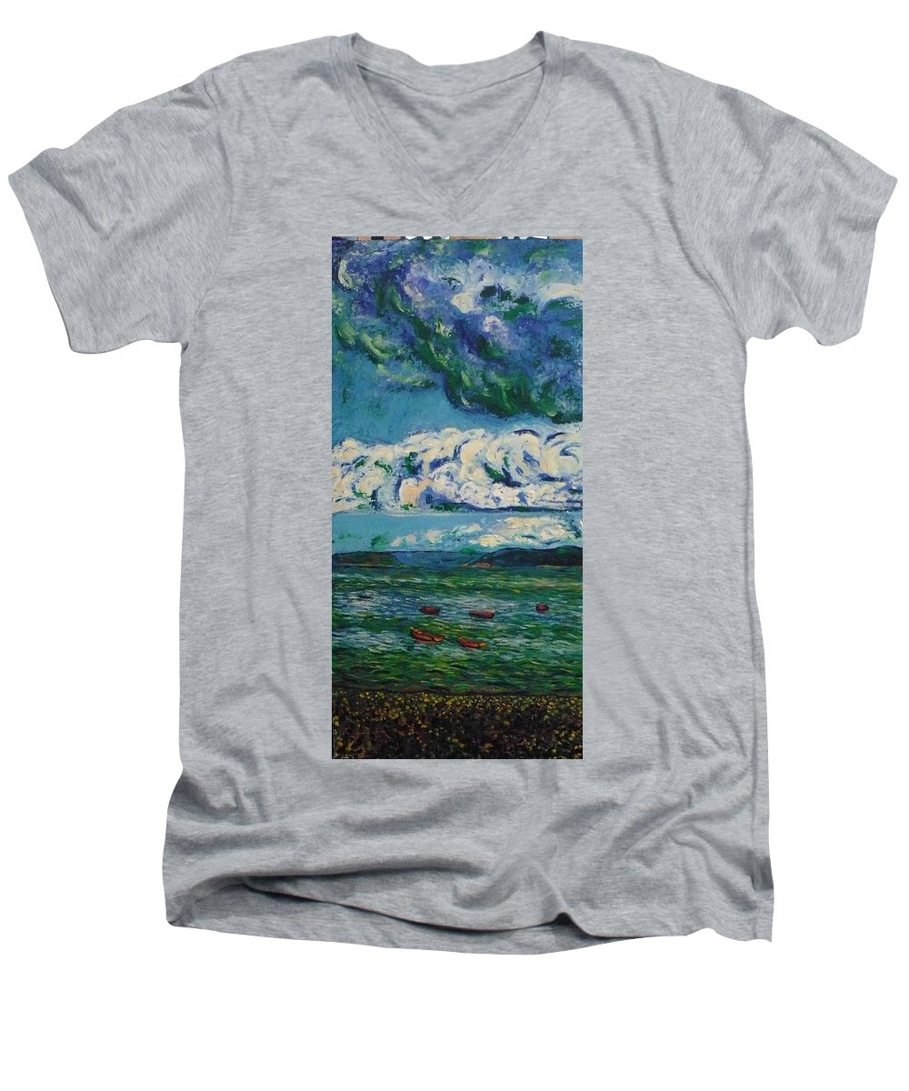 Landscape Men's V-Neck T-Shirt featuring the painting Green Beach by Ericka Herazo