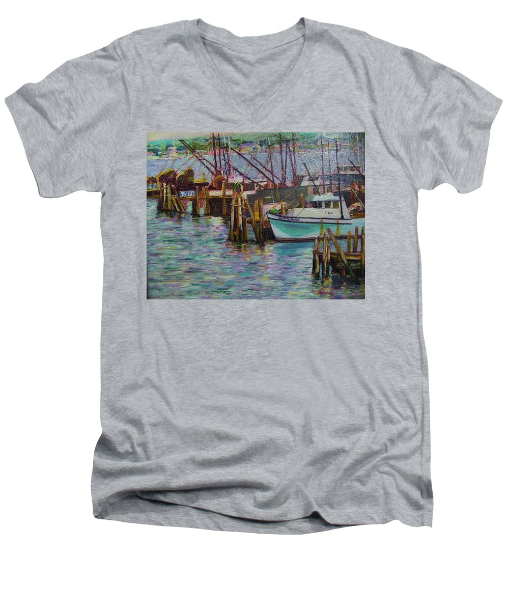 Boat Men's V-Neck T-Shirt featuring the painting Green Boat At Rest- Nova Scotia by Richard Nowak