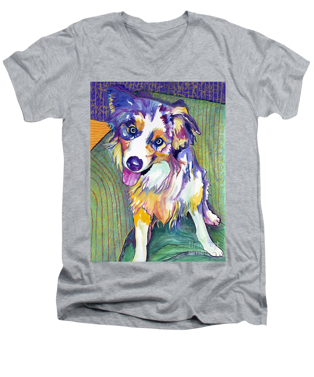 Pat Saunders-white Men's V-Neck T-Shirt featuring the painting Green Couch  by Pat Saunders-White