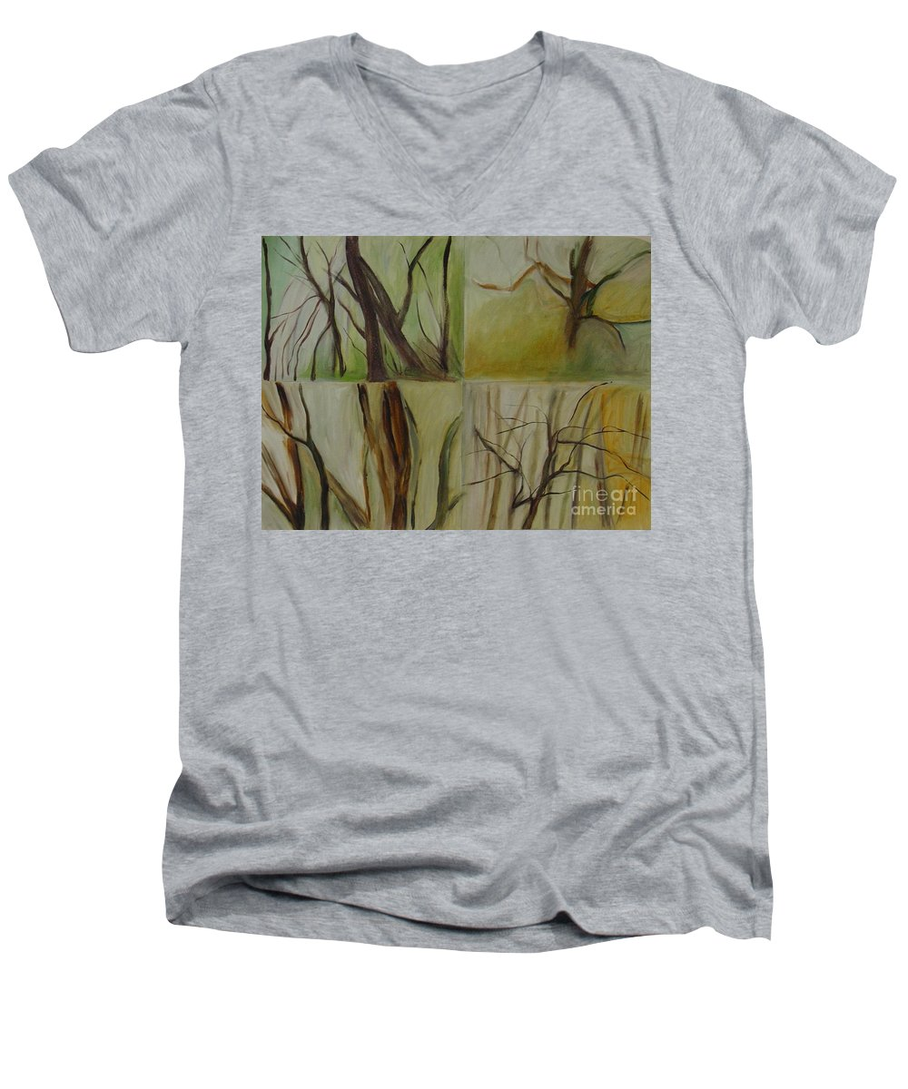 Spring Young Trees Saplings Trees Men's V-Neck T-Shirt featuring the painting Green Sonnet by Leila Atkinson