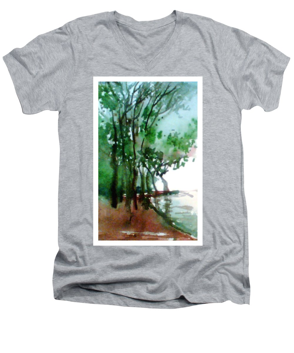Water Color Men's V-Neck T-Shirt featuring the painting Greens by Anil Nene