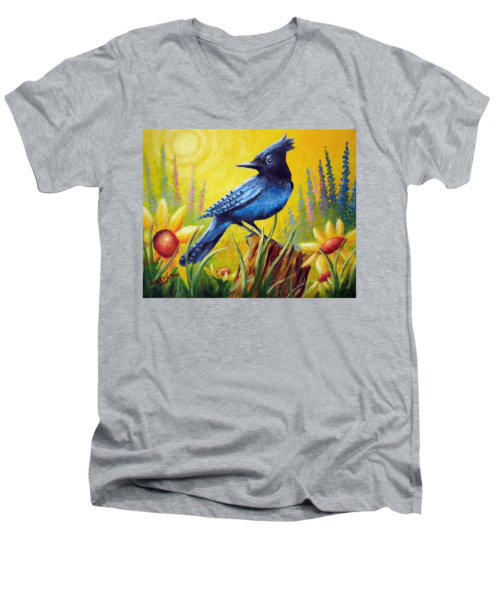 Bird Men's V-Neck T-Shirt featuring the painting Greeting The Day by David G Paul