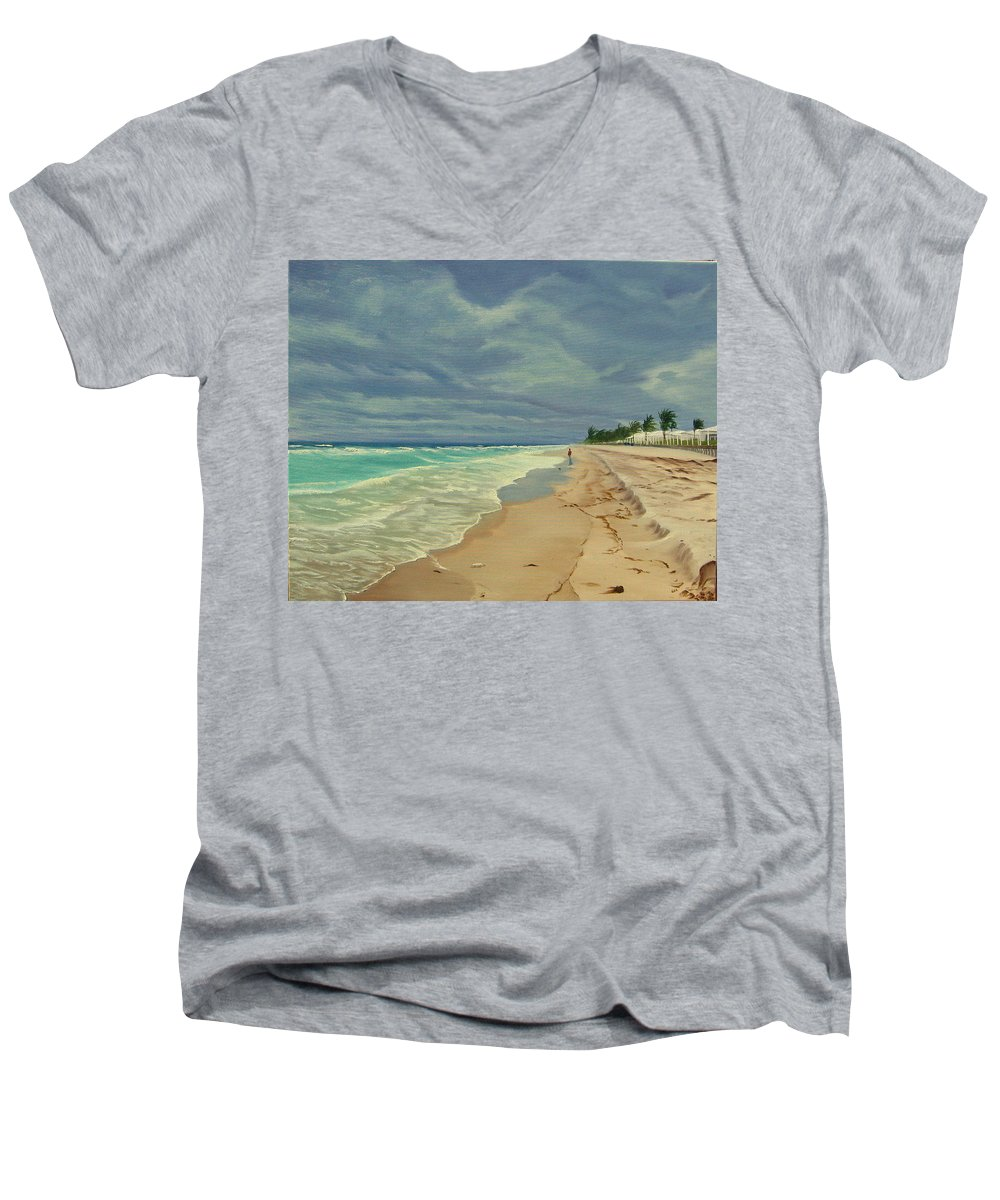 Beach Men's V-Neck T-Shirt featuring the painting Grey Day On The Beach by Lea Novak