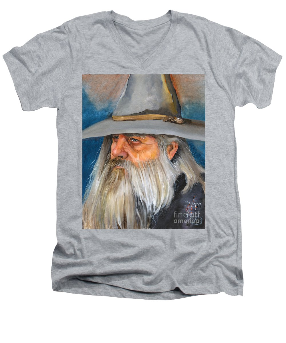 Wizard Men's V-Neck T-Shirt featuring the painting Grey Days by J W Baker