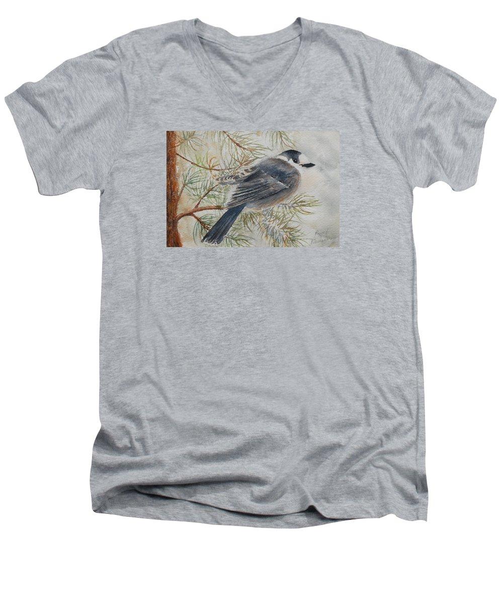 Bird Men's V-Neck T-Shirt featuring the painting Grey Jay by Ruth Kamenev