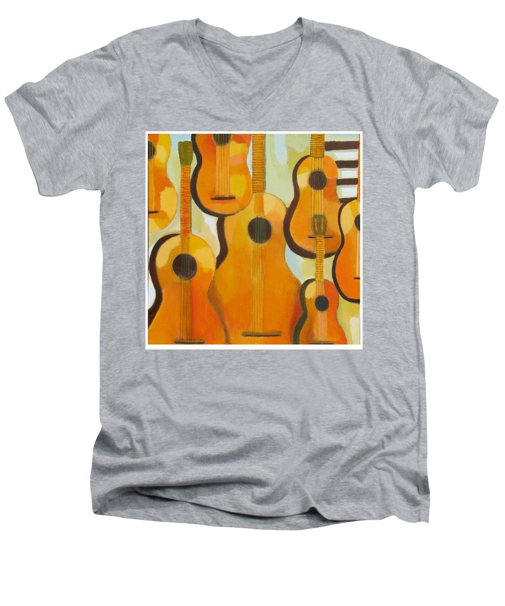 Abstract Men's V-Neck T-Shirt featuring the painting Guitars by Habib Ayat