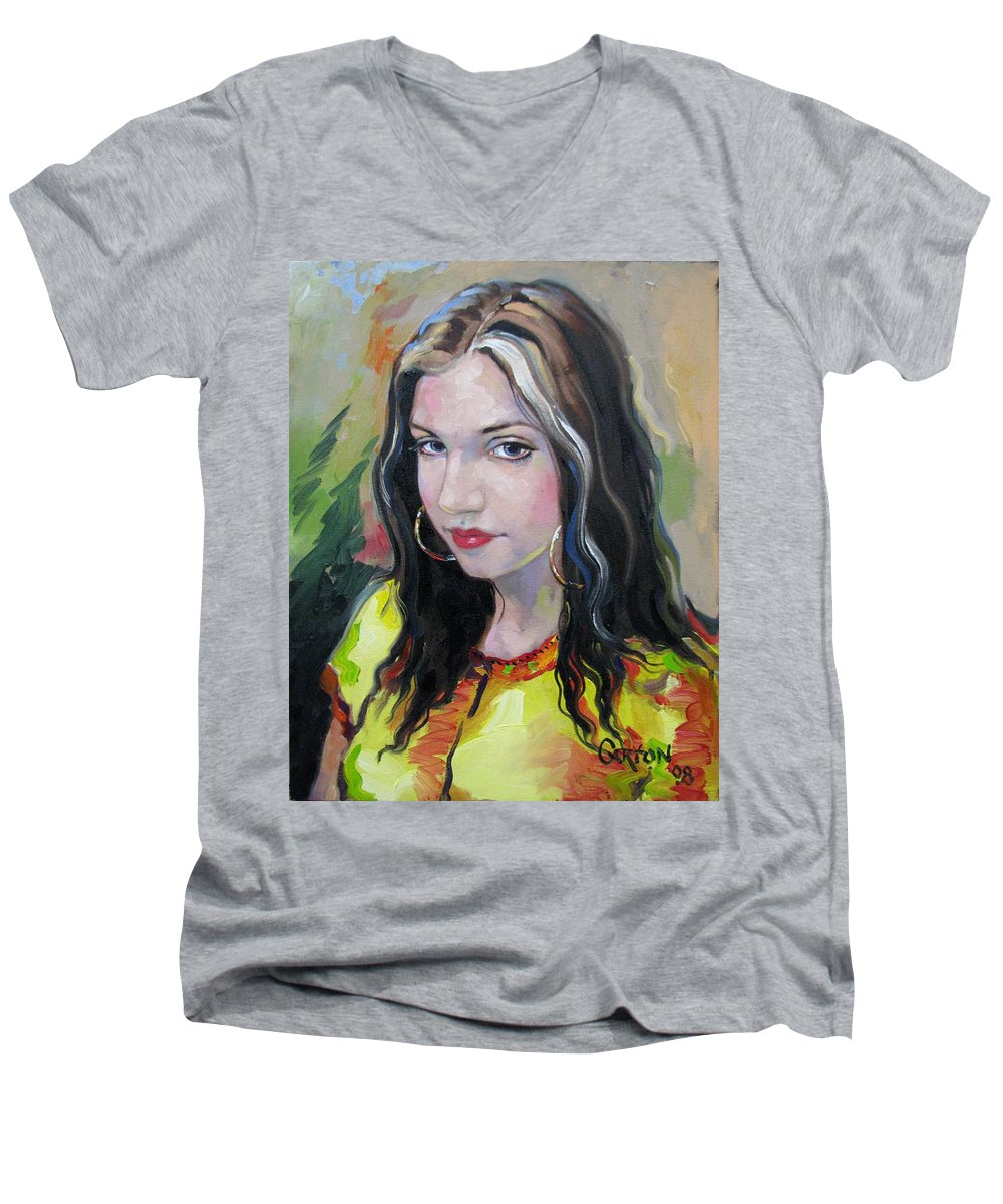 Gypsy Men's V-Neck T-Shirt featuring the painting Gypsy Girl by Jerrold Carton