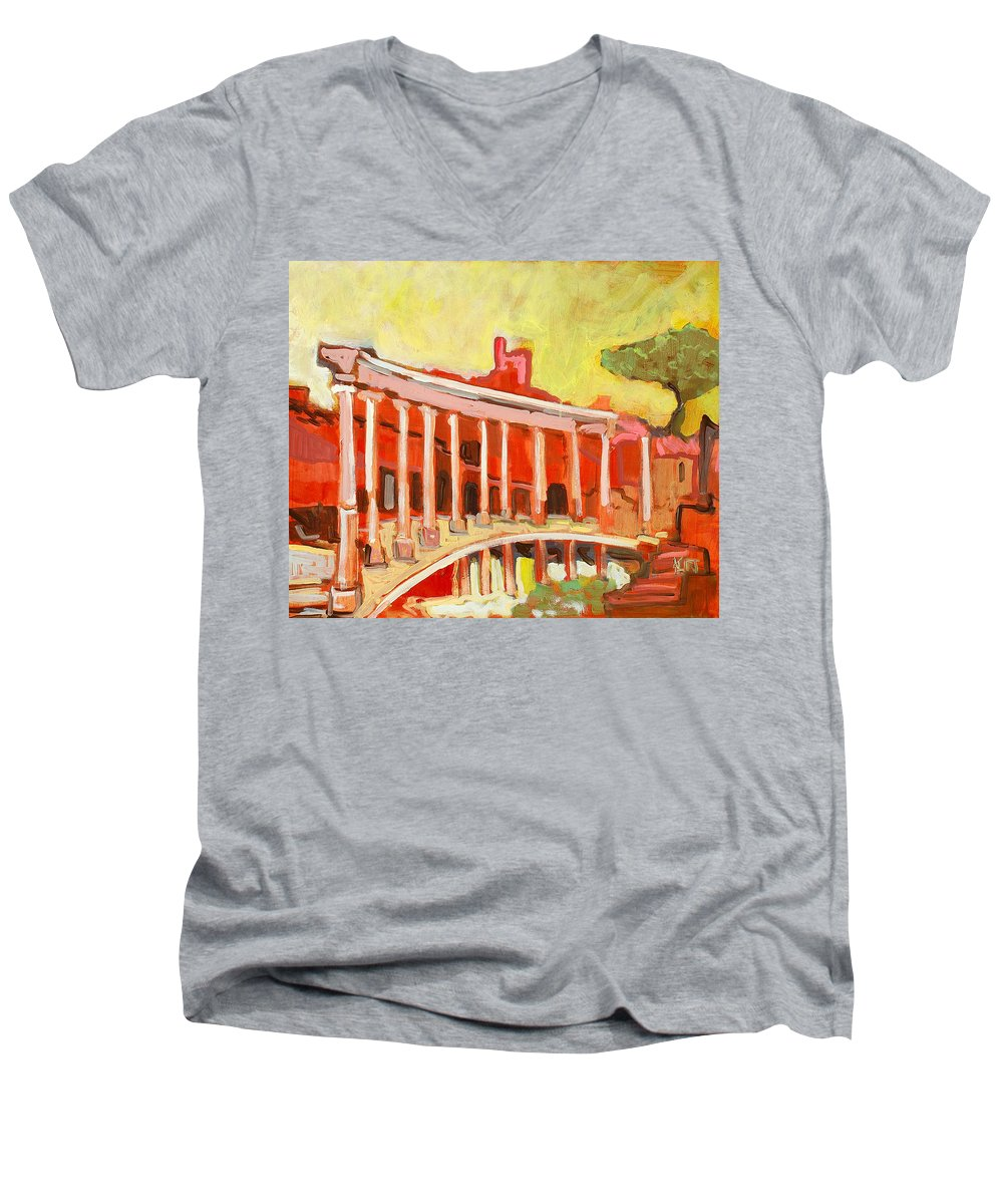 Villa Men's V-Neck T-Shirt featuring the painting Hadrian's Villa by Kurt Hausmann