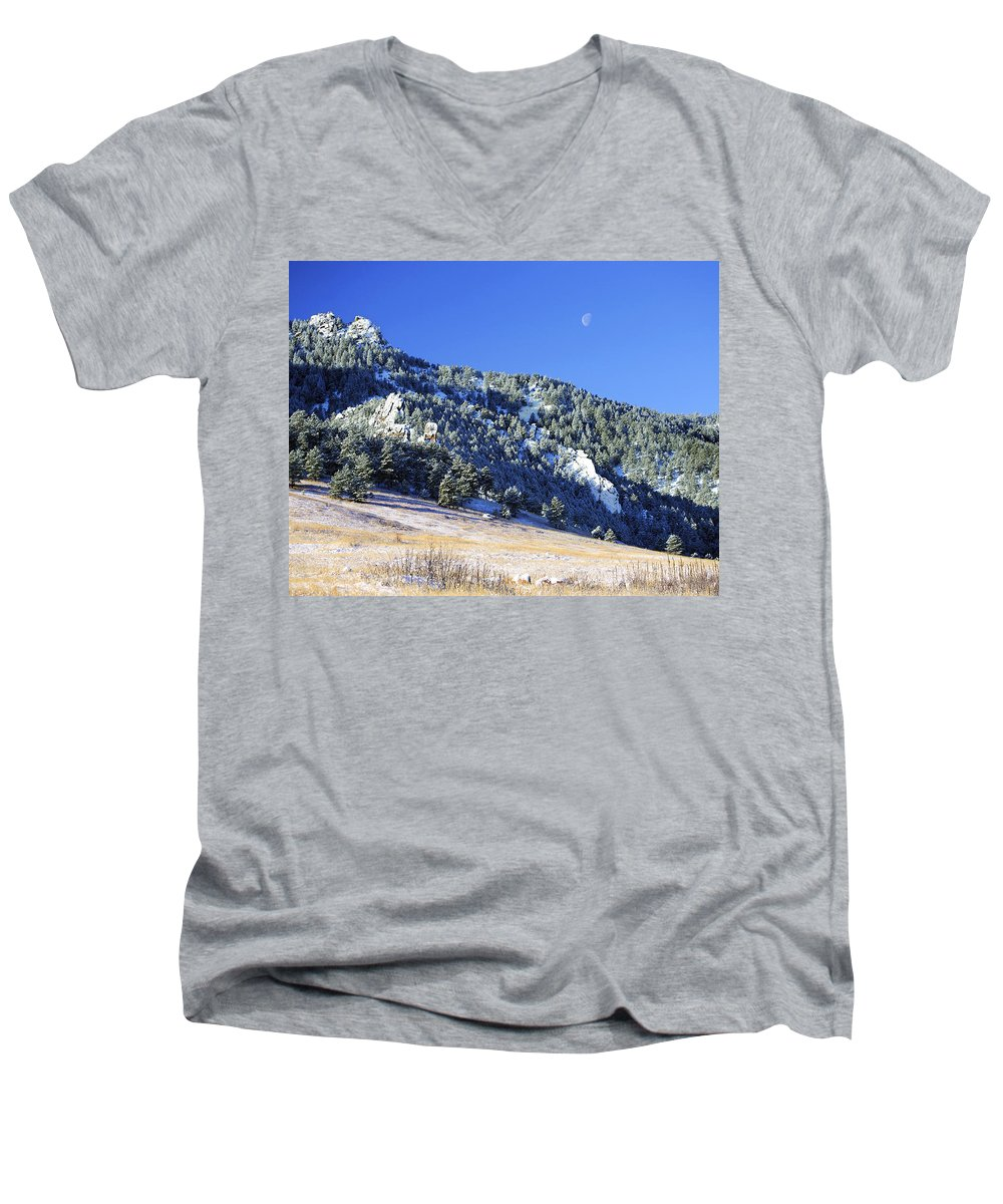 Nature Men's V-Neck T-Shirt featuring the photograph Half Moon Over The Flatirons by Marilyn Hunt
