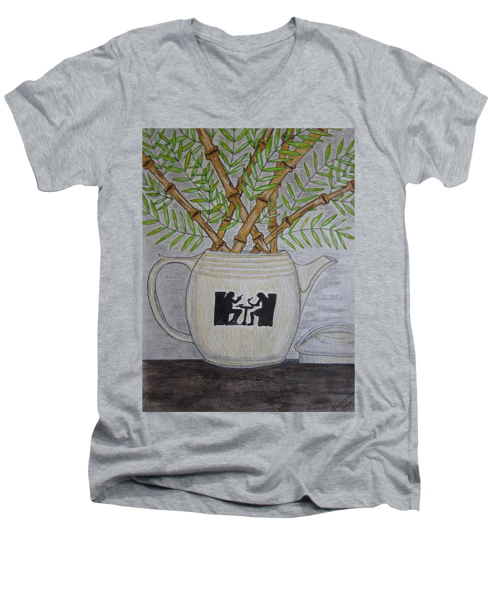 Hall China Men's V-Neck T-Shirt featuring the painting Hall China Silhouette Pitcher With Bamboo by Kathy Marrs Chandler