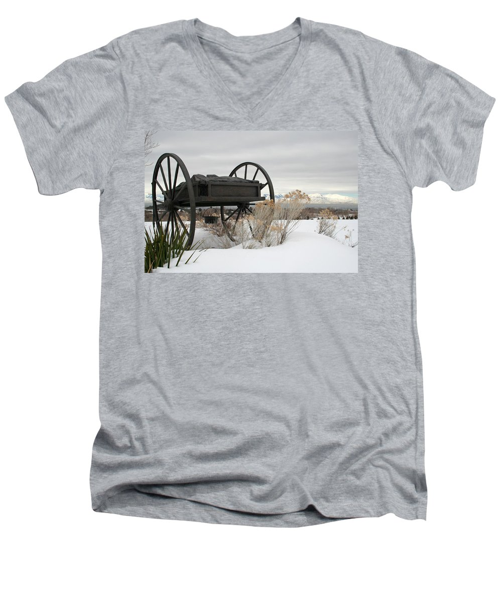 Handcart Men's V-Neck T-Shirt featuring the photograph Handcart Monument by Margie Wildblood