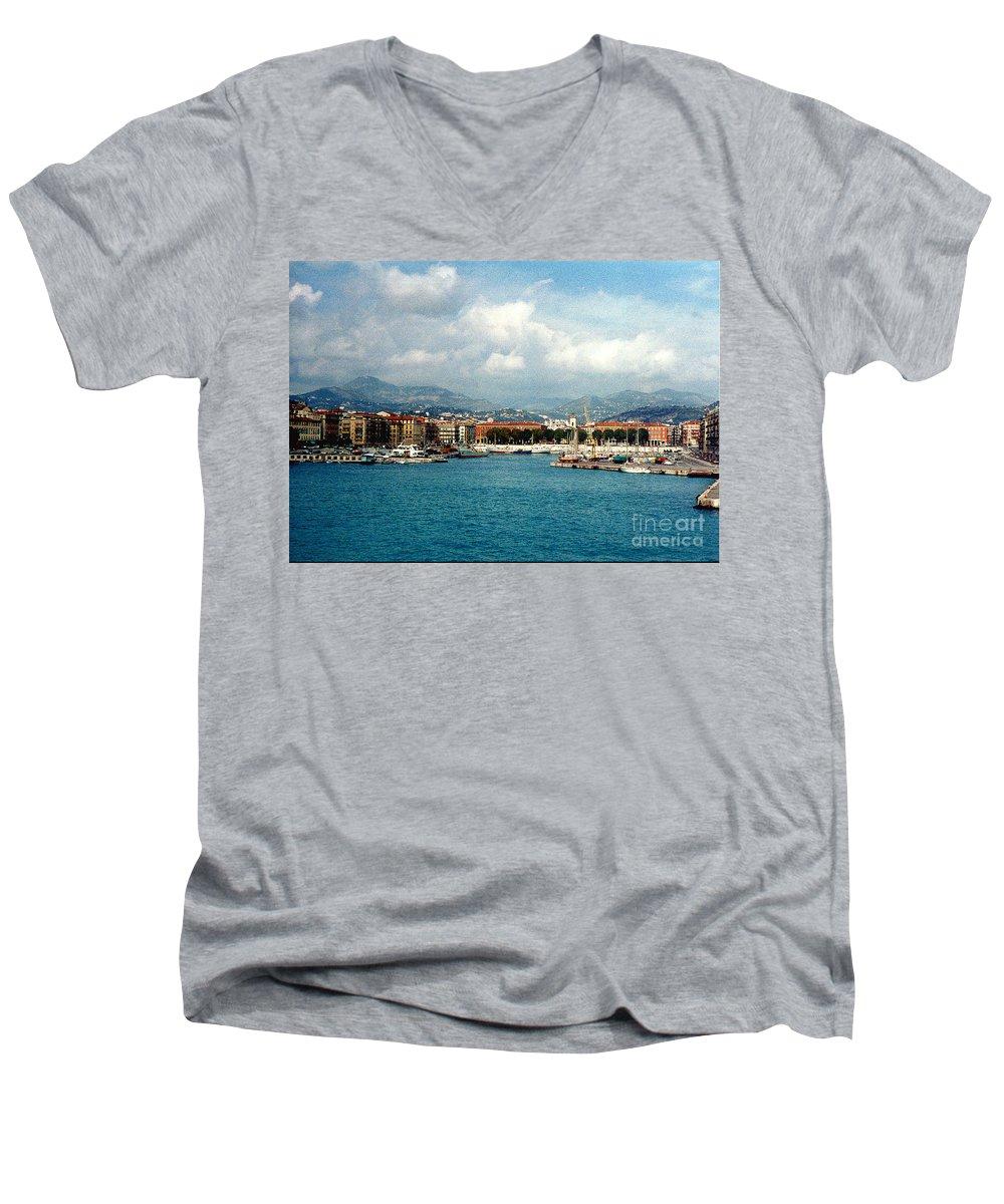 Landscape Men's V-Neck T-Shirt featuring the photograph Harbor Scene In Nice France by Nancy Mueller