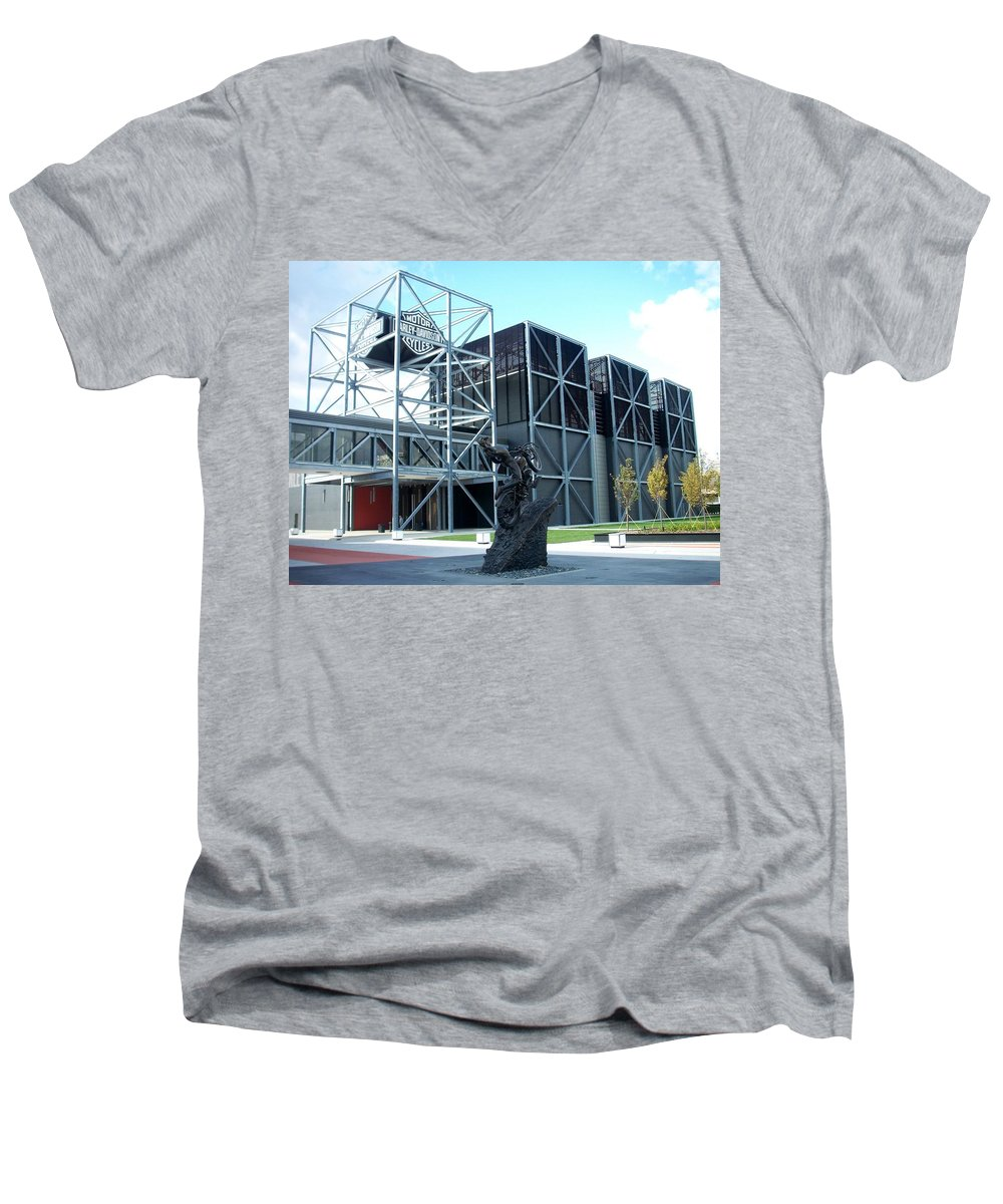 Architechture Men's V-Neck T-Shirt featuring the photograph Harley Museum And Statue by Anita Burgermeister