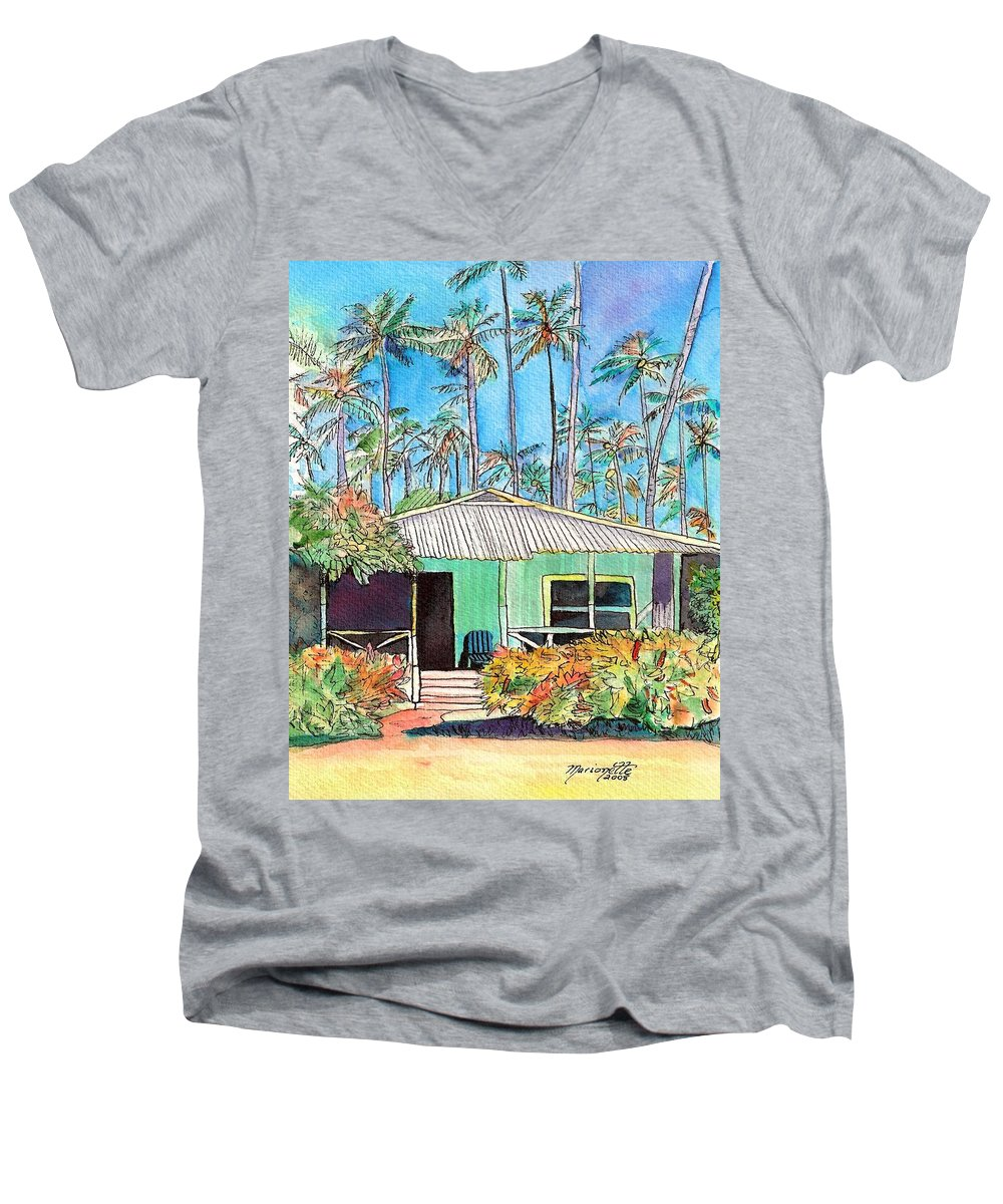 Cottage Men's V-Neck T-Shirt featuring the painting Hawaiian Cottage I by Marionette Taboniar