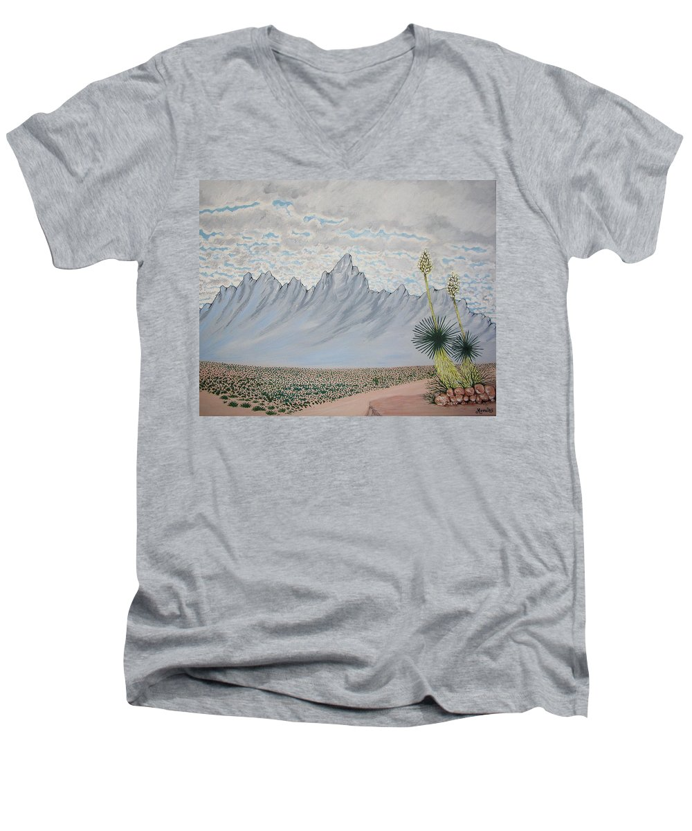 Desertscape Men's V-Neck T-Shirt featuring the painting Hazy Desert Day by Marco Morales