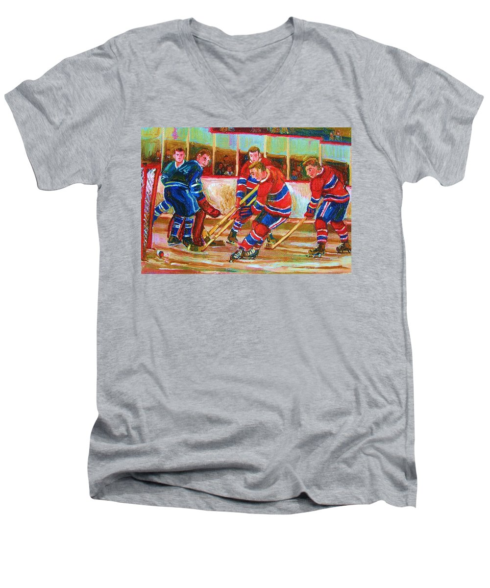 Hockey Men's V-Neck T-Shirt featuring the painting He Shoots  He Scores by Carole Spandau