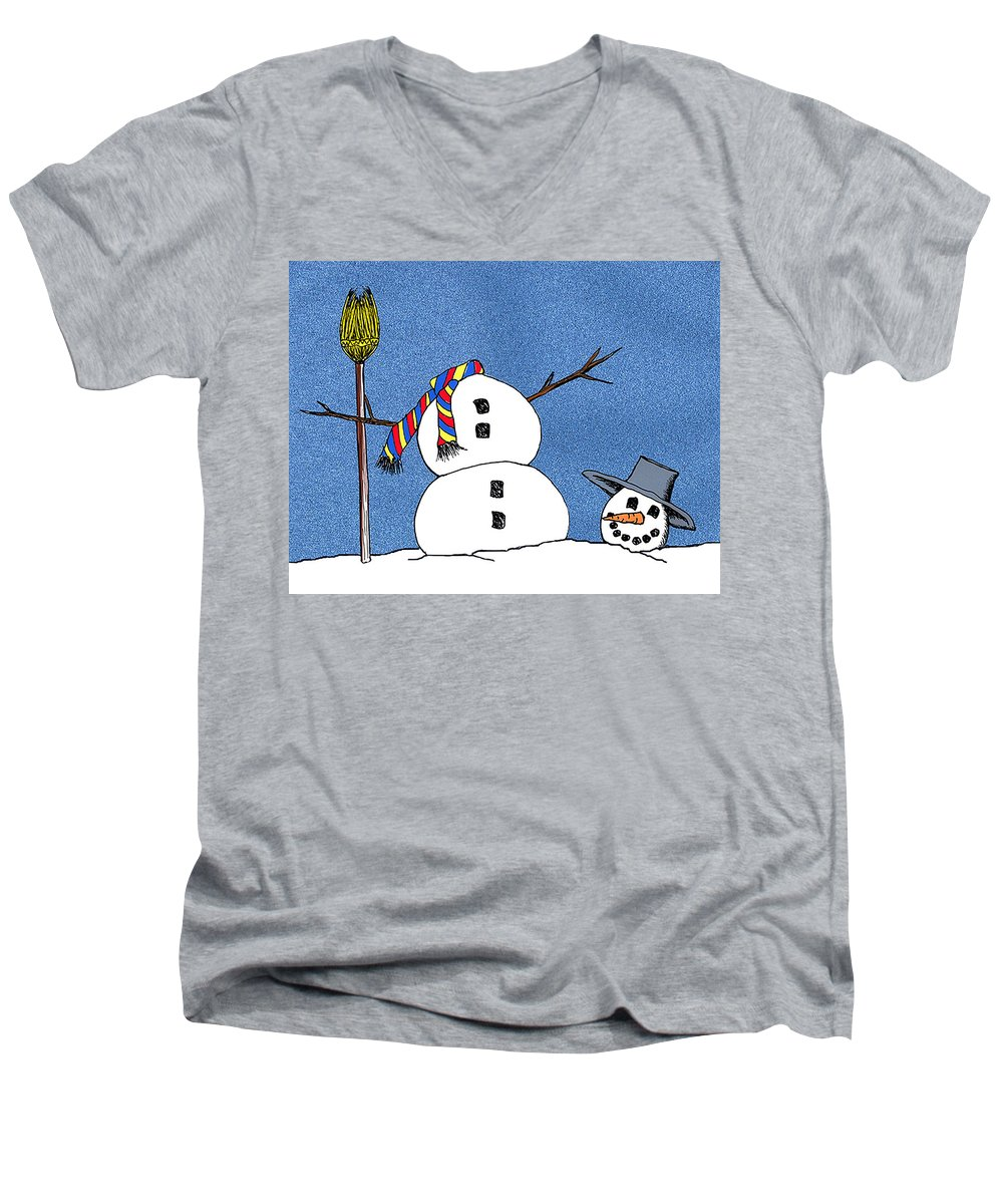 Snowman Men's V-Neck T-Shirt featuring the digital art Headless Snowman by Nancy Mueller
