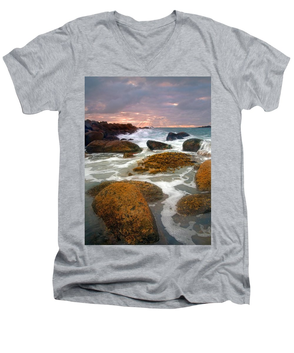 Sunrise Men's V-Neck T-Shirt featuring the photograph Heavenly Dawning by Mike Dawson