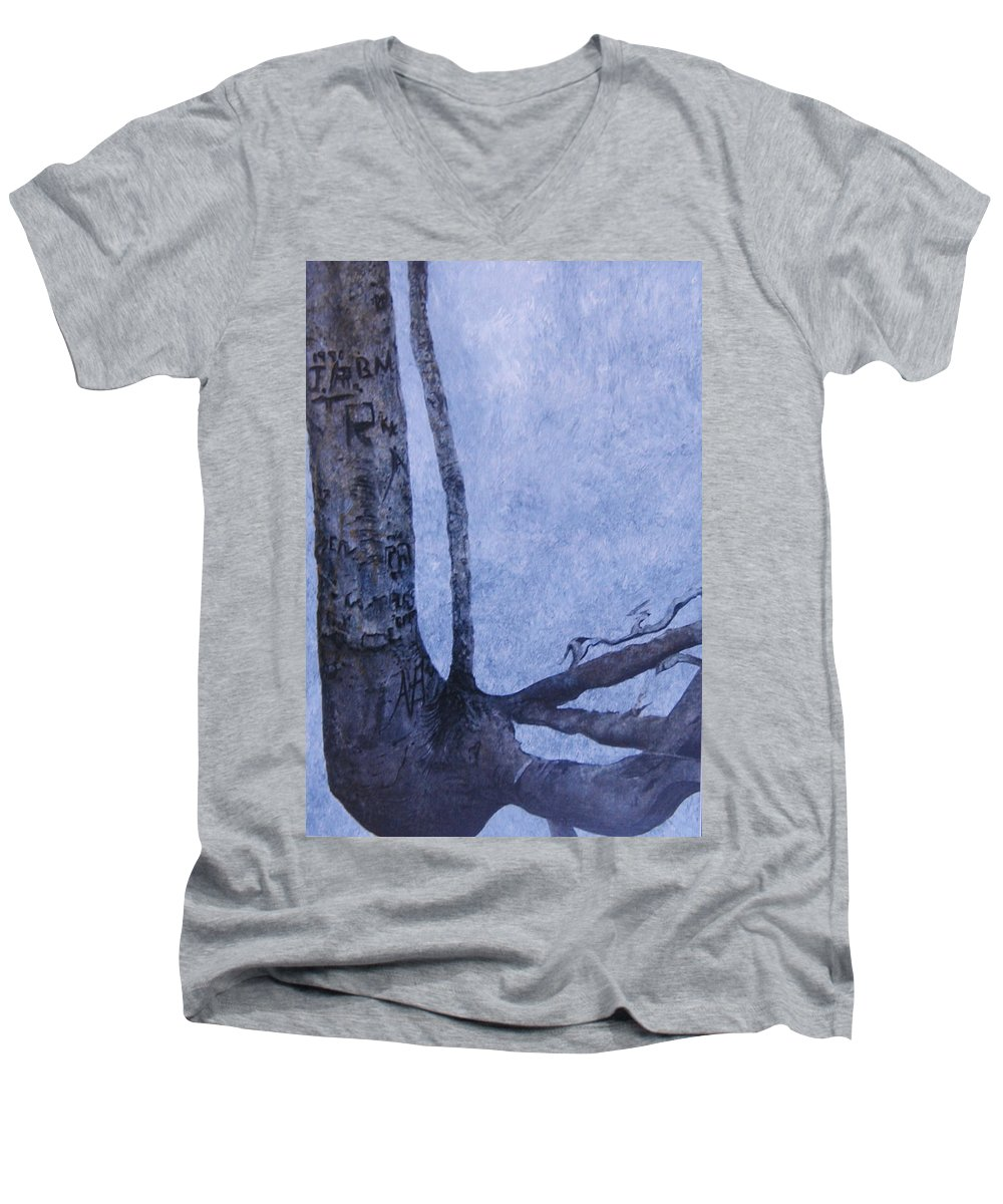 Tree Trunk Men's V-Neck T-Shirt featuring the painting Hedden Park II by Leah Tomaino