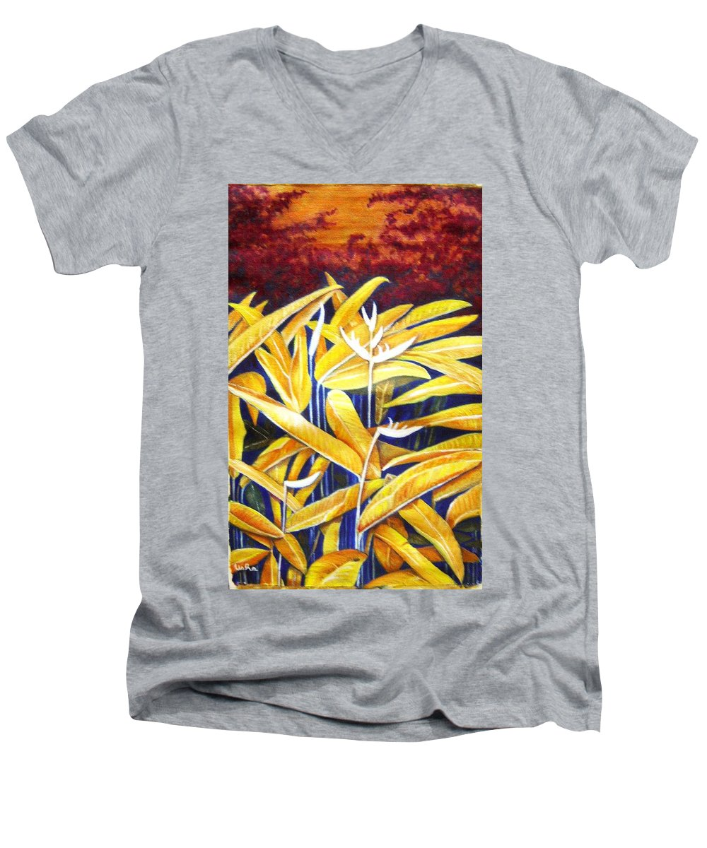 Heliconia Men's V-Neck T-Shirt featuring the painting Heliconia by Usha Shantharam