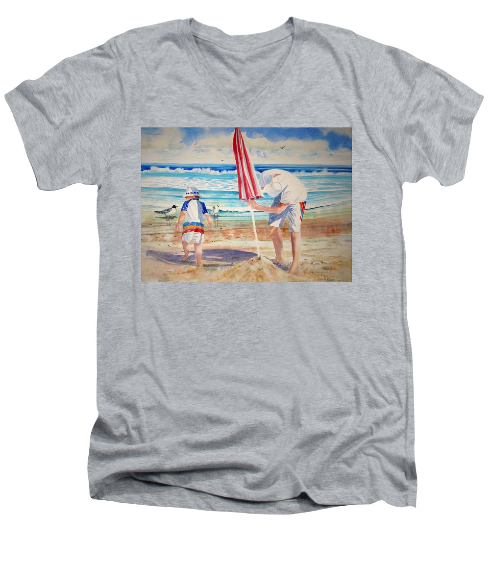 Beach Men's V-Neck T-Shirt featuring the painting Helping Dad Set Up The Camp by Tom Harris