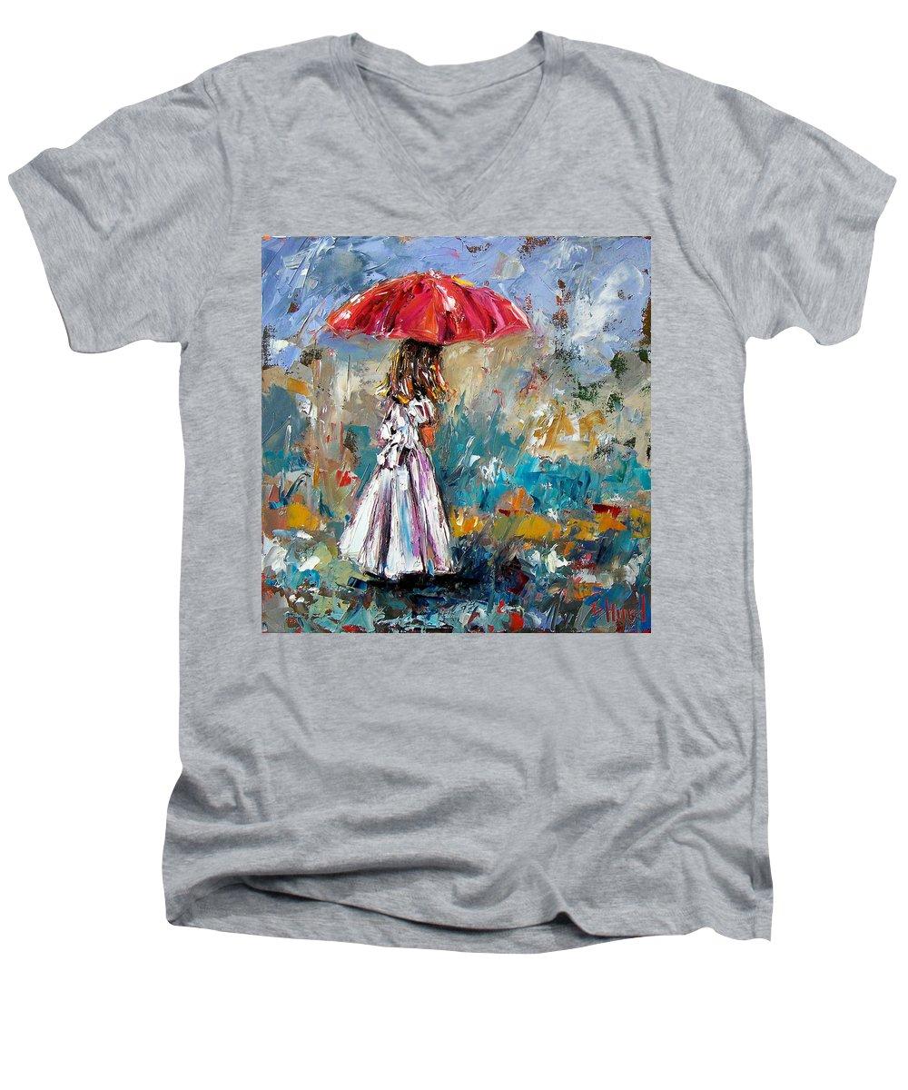 Children Art Men's V-Neck T-Shirt featuring the painting Her White Dress by Debra Hurd