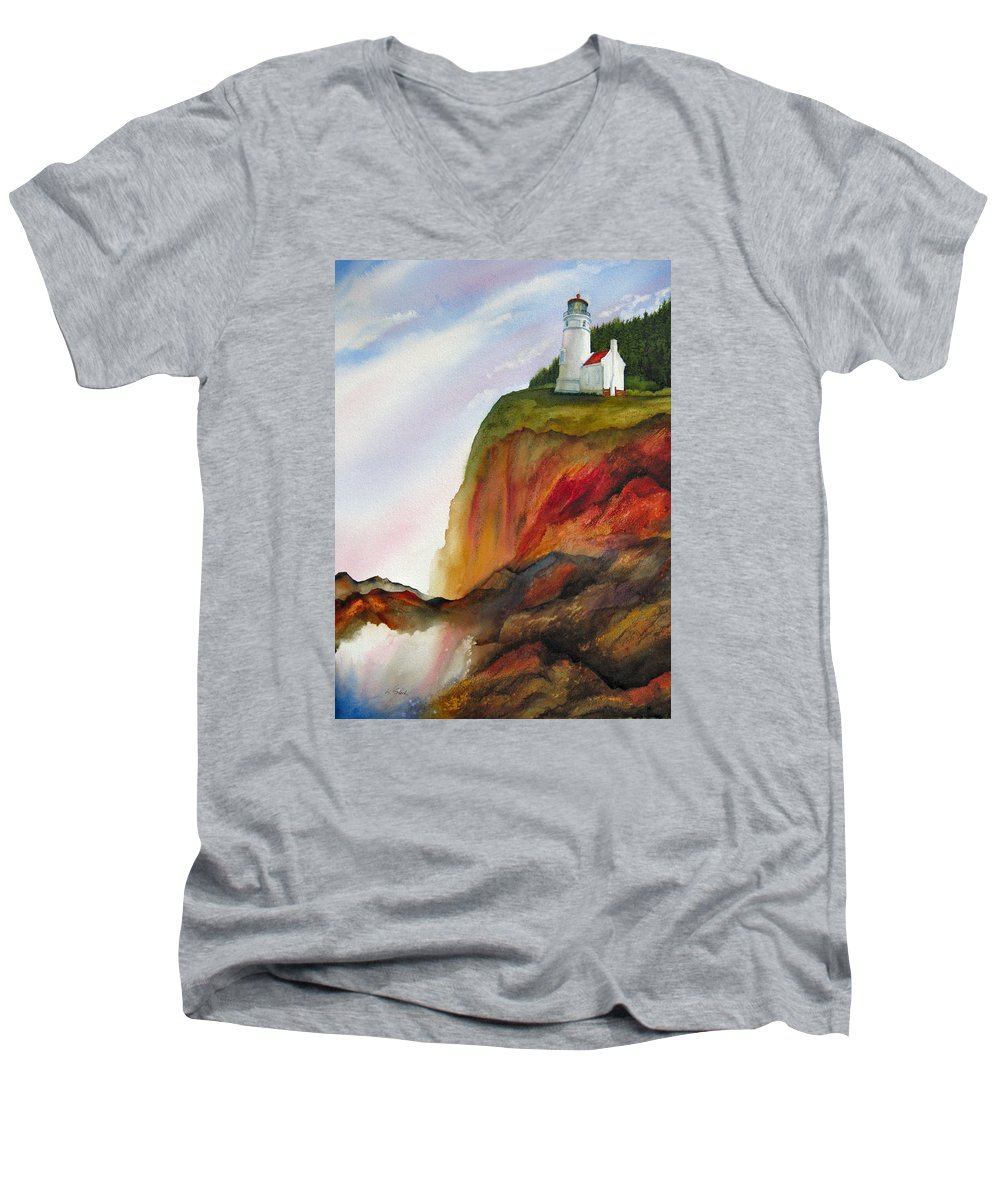 Coastal Men's V-Neck T-Shirt featuring the painting High Ground by Karen Stark