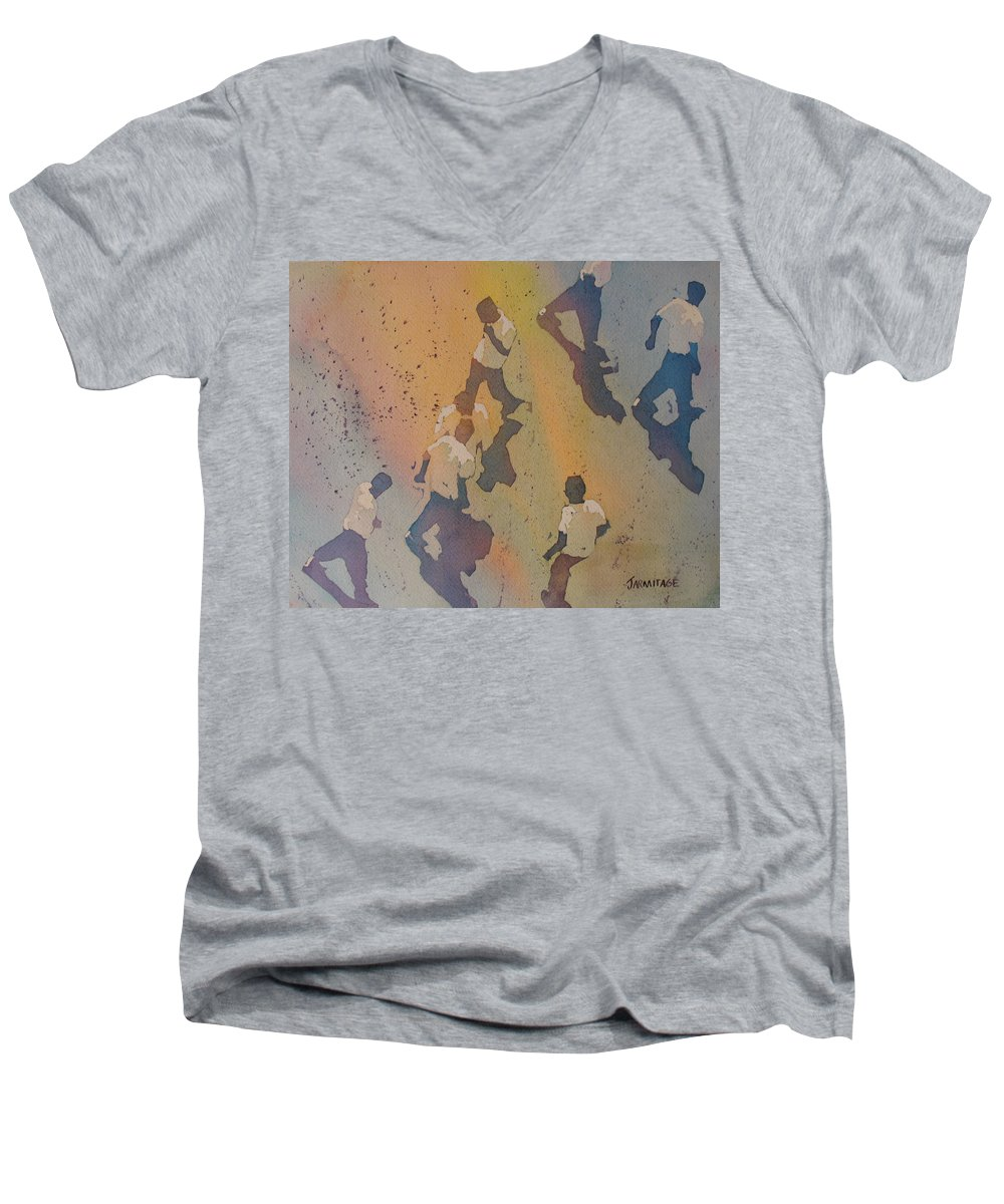 Men Men's V-Neck T-Shirt featuring the painting High Noon At The Gravel Spit II by Jenny Armitage