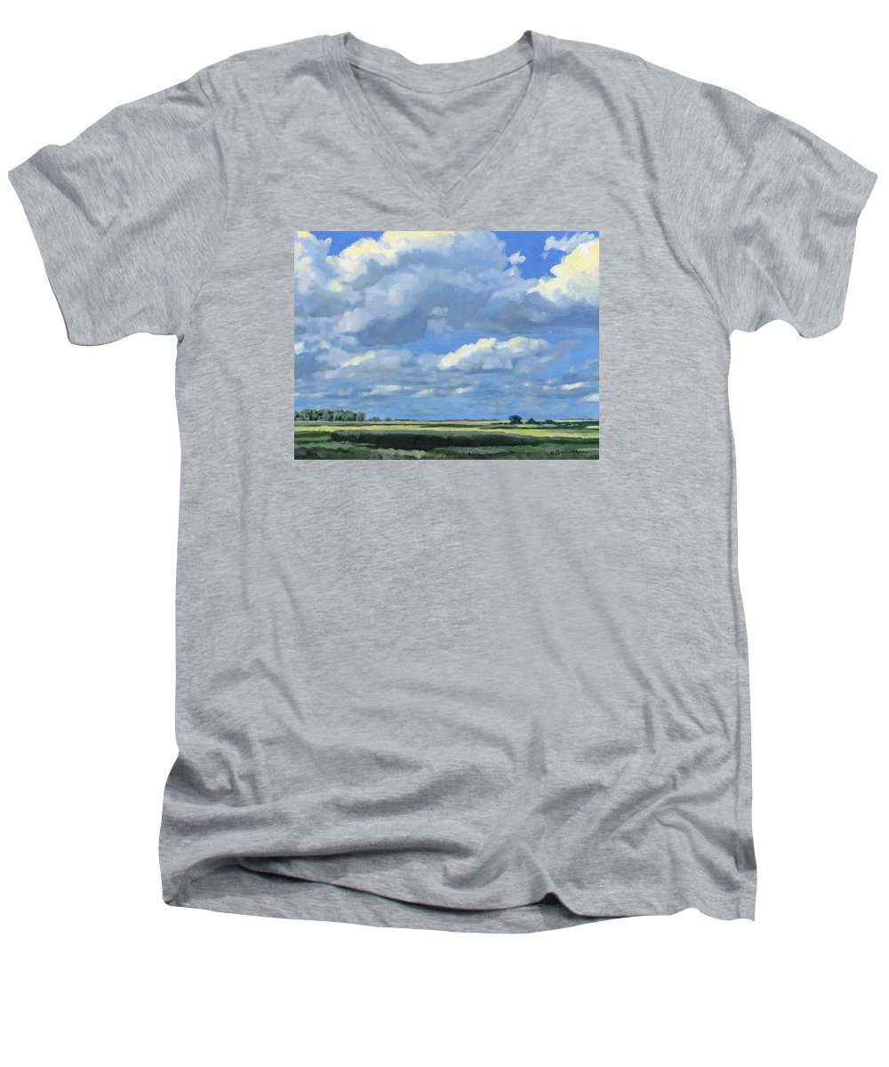 Landscape Men's V-Neck T-Shirt featuring the painting High Summer by Bruce Morrison