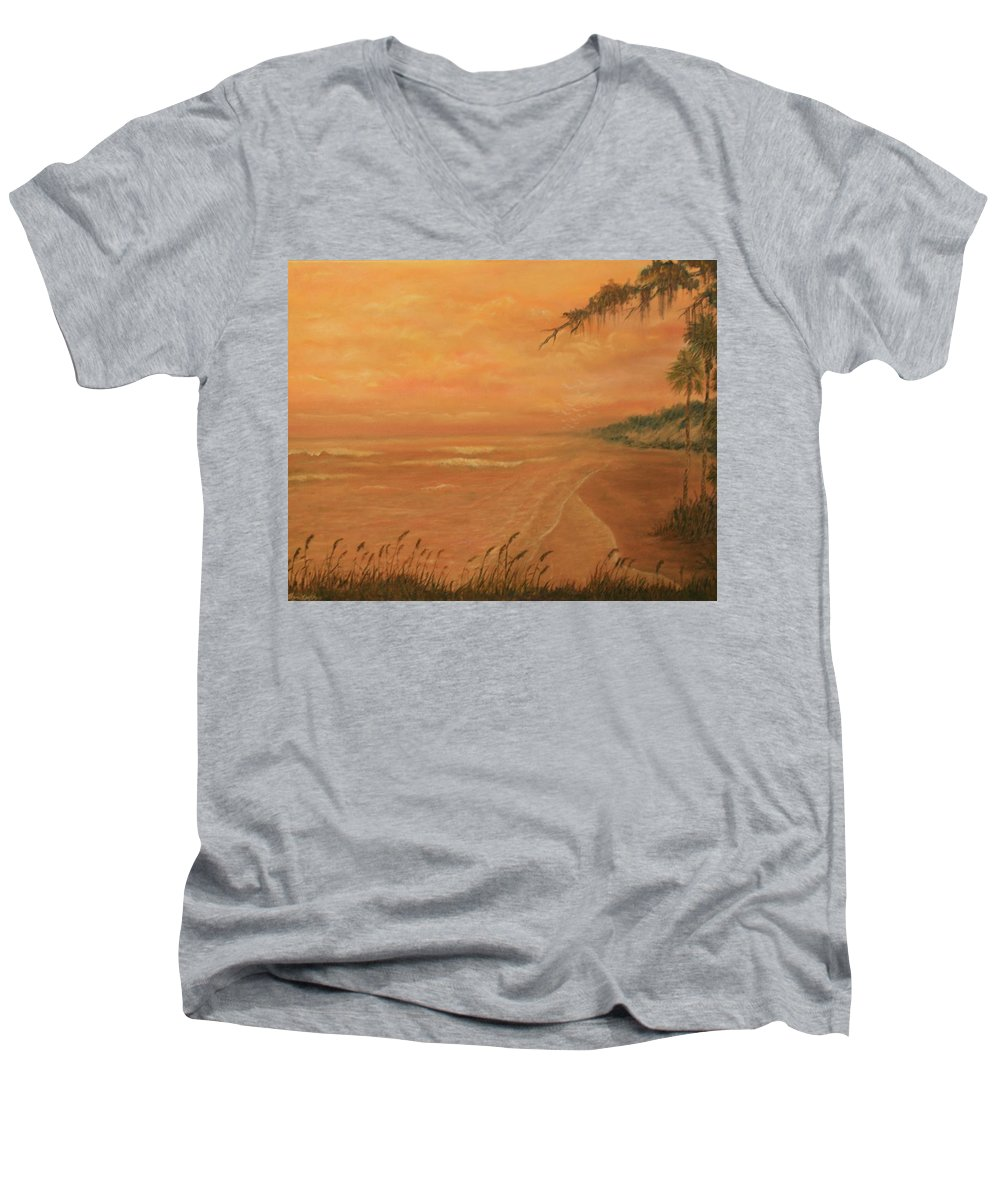 Beach; Ocean; Palm Trees; Water Men's V-Neck T-Shirt featuring the painting High Tide by Ben Kiger