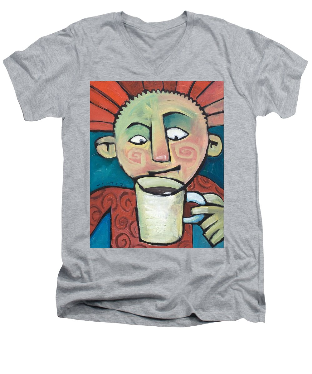Smile Men's V-Neck T-Shirt featuring the painting His Coffee Spoke To Him by Tim Nyberg