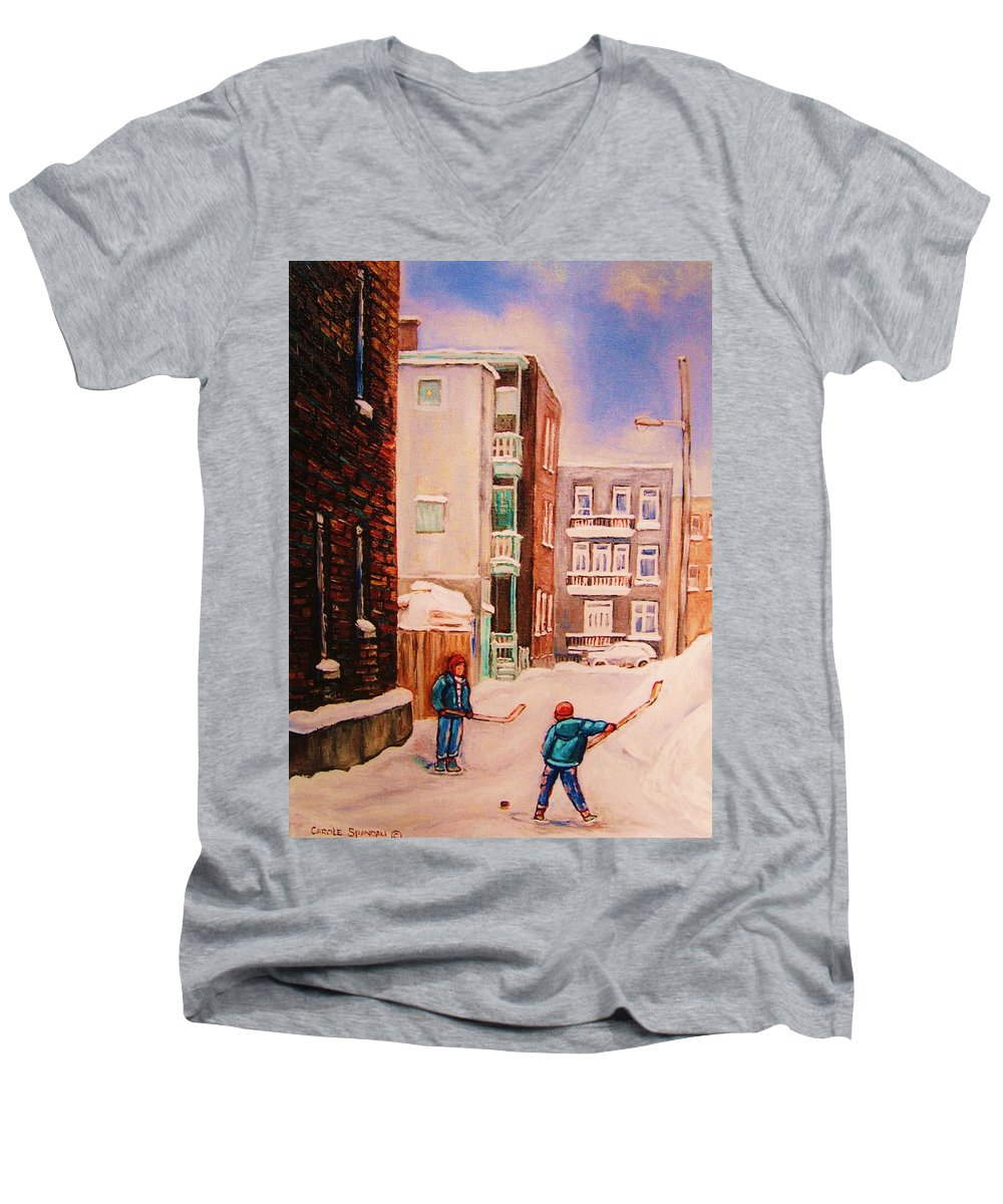 Hockey Men's V-Neck T-Shirt featuring the painting Hockey Practice by Carole Spandau