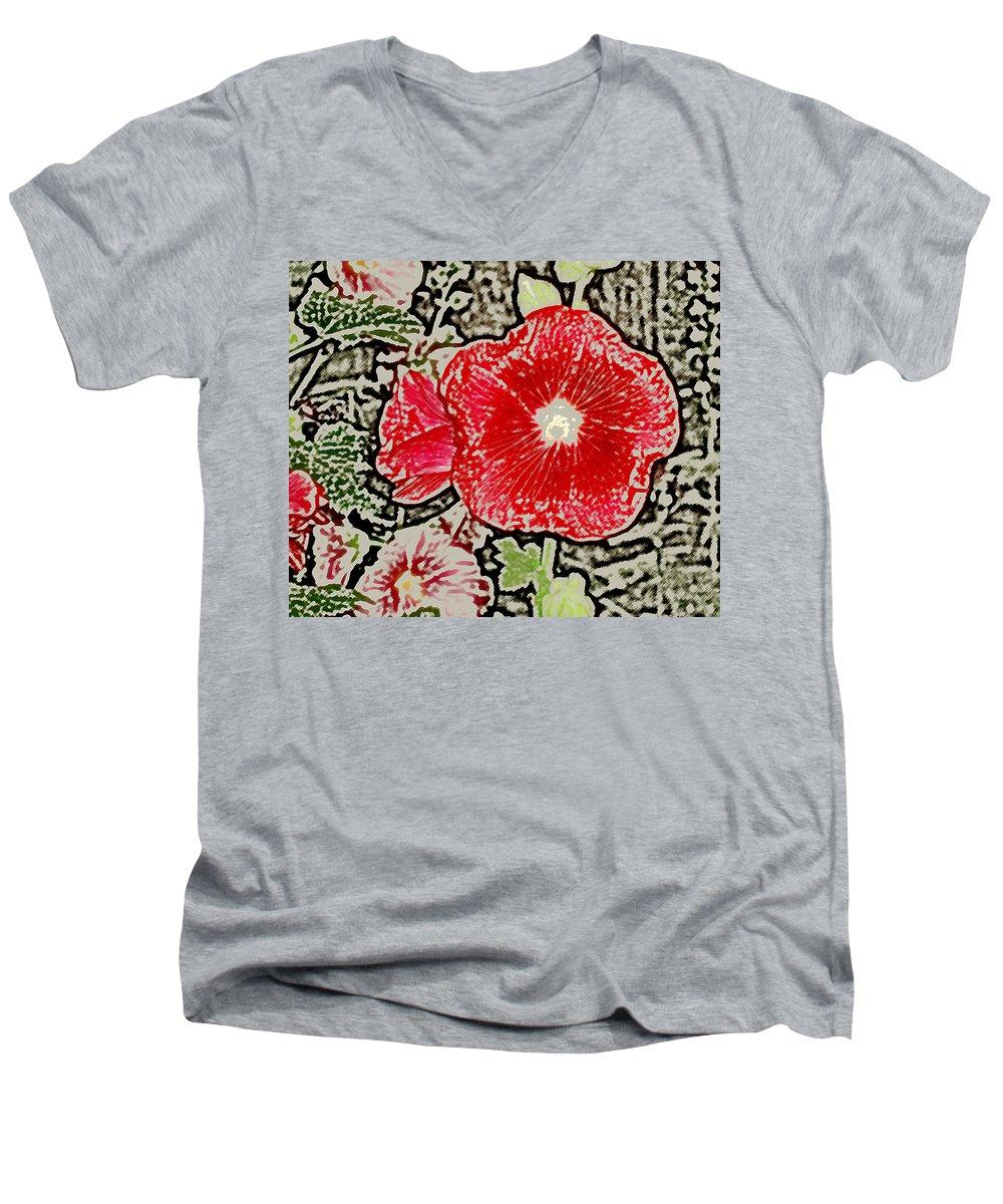 Flower Men's V-Neck T-Shirt featuring the photograph Hollyhock by Wayne Potrafka