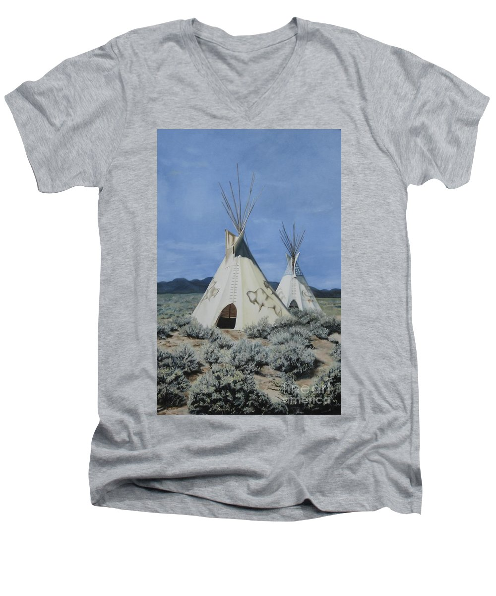 Art Men's V-Neck T-Shirt featuring the painting Home On The Range by Mary Rogers