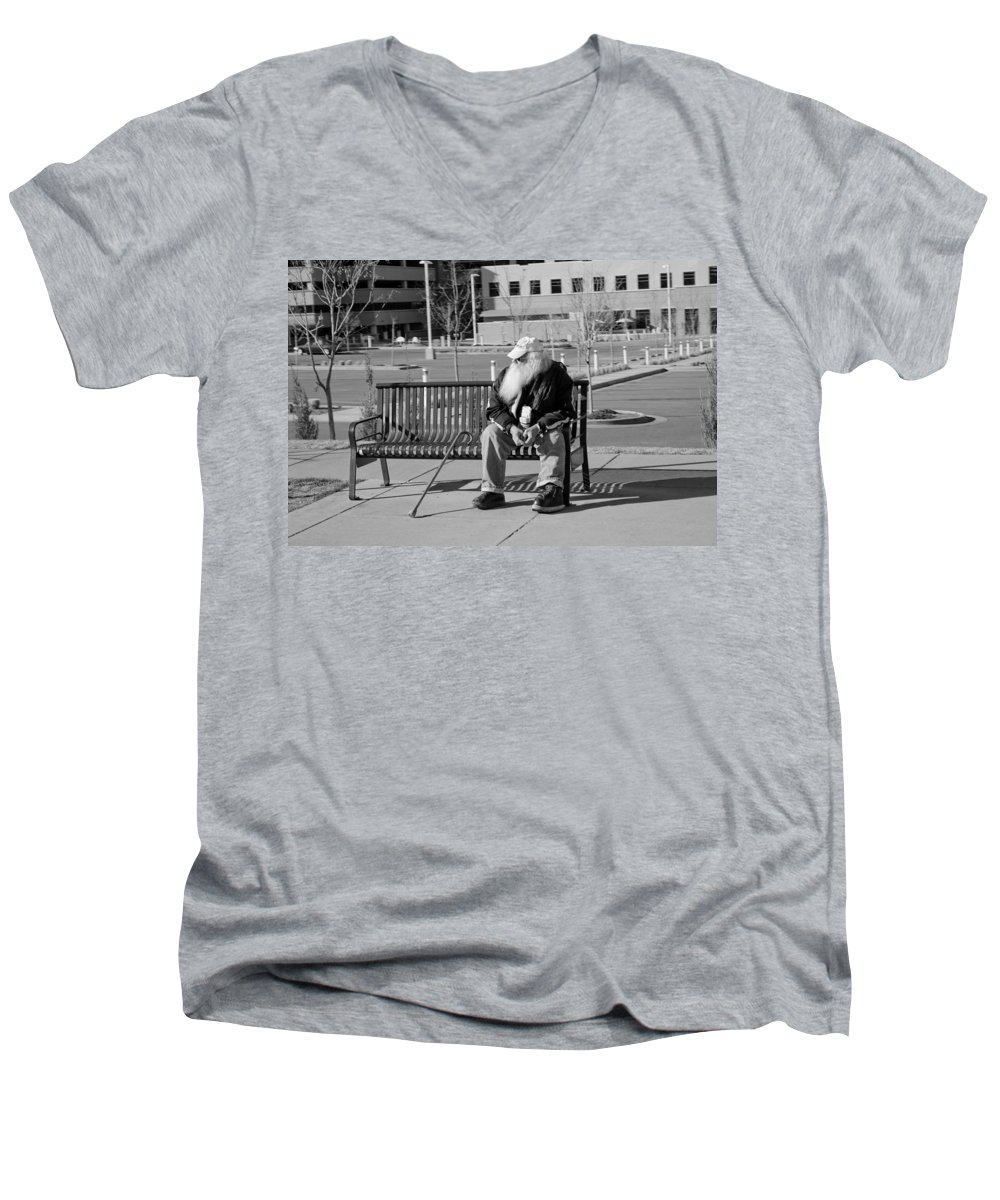 Portrait Men's V-Neck T-Shirt featuring the photograph Homeless Man by Angus Hooper Iii