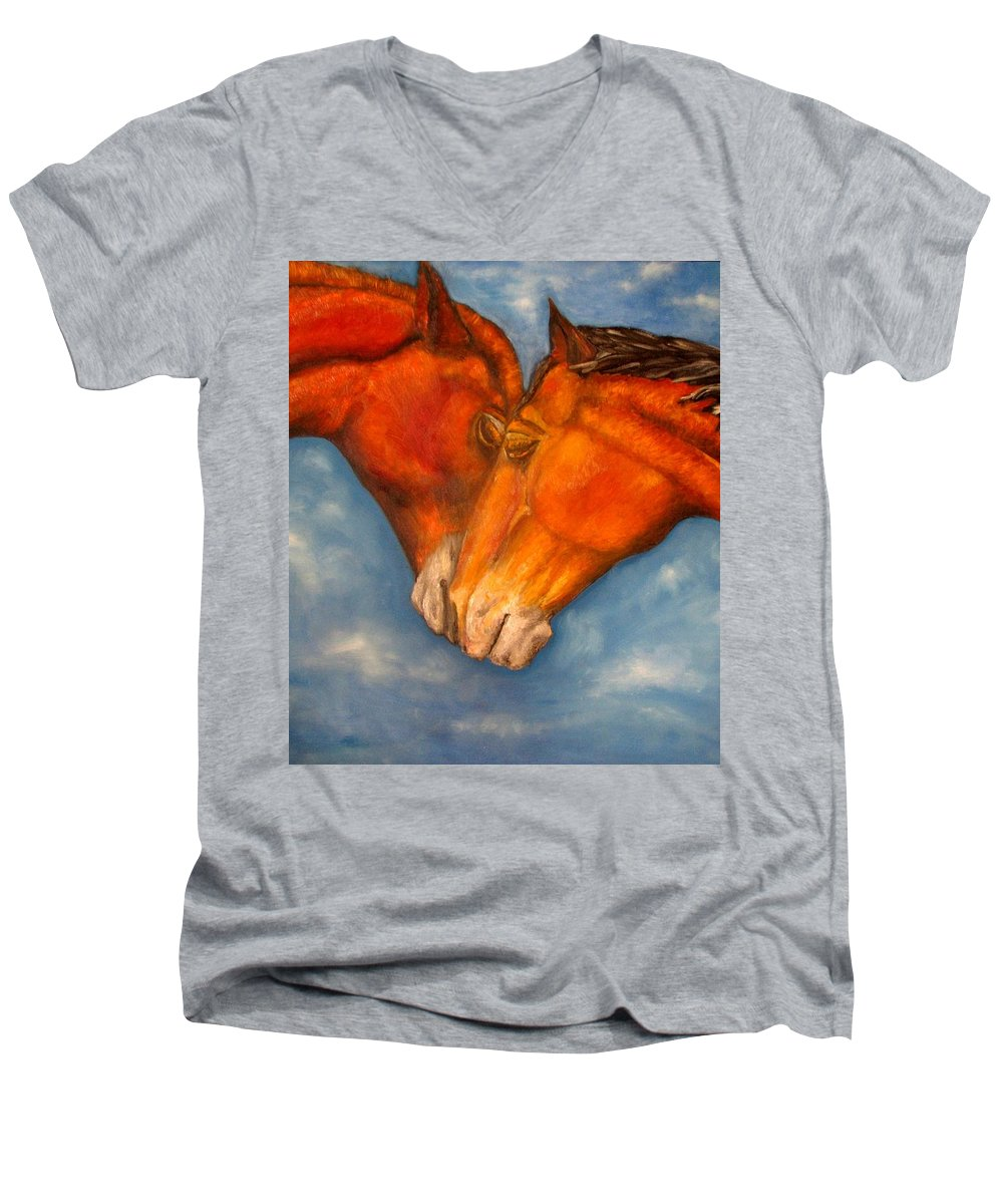 Horses Men's V-Neck T-Shirt featuring the painting Horses In Love.oil Painting by Natalja Picugina
