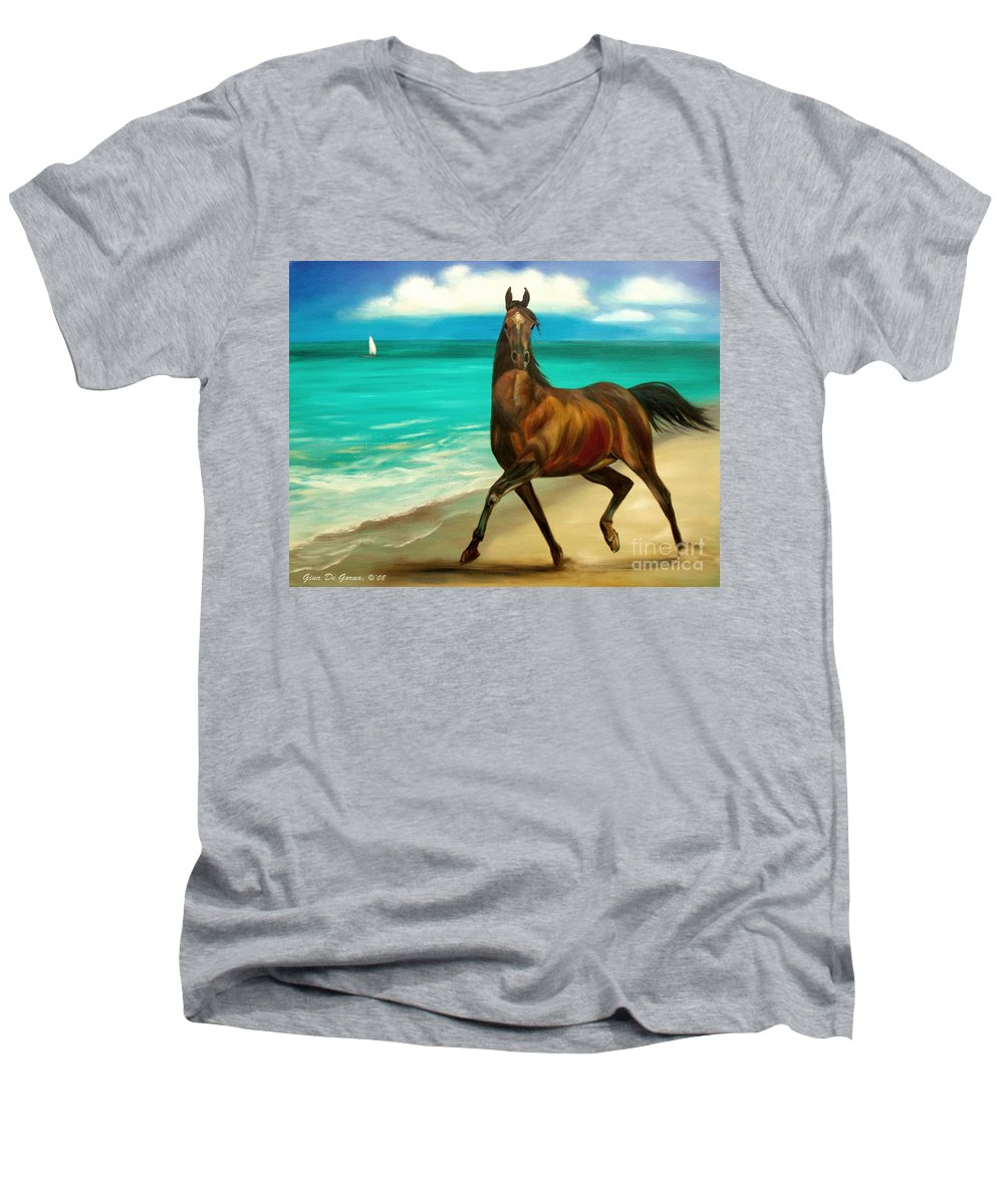 Horse Men's V-Neck T-Shirt featuring the painting Horses In Paradise Dance by Gina De Gorna