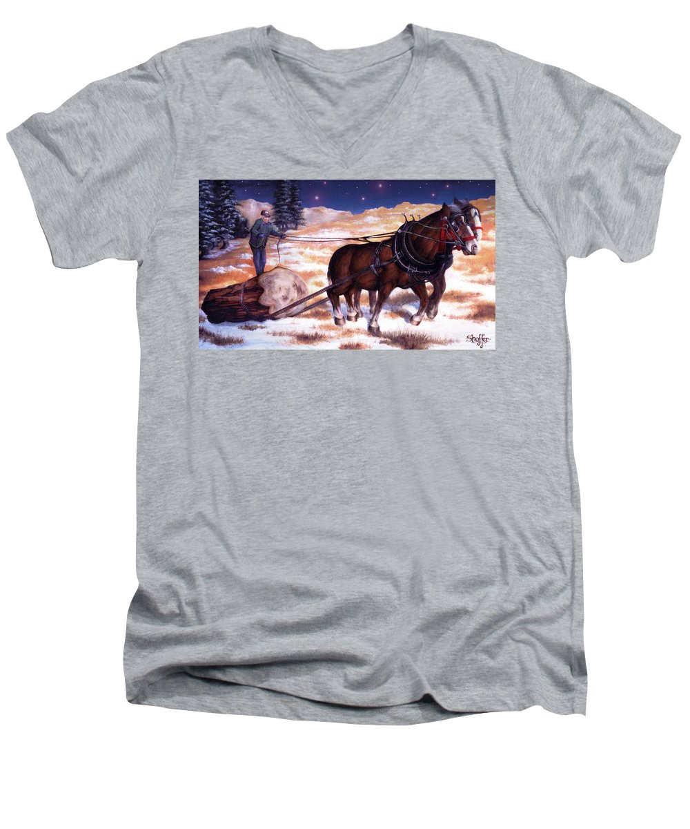Horse Men's V-Neck T-Shirt featuring the painting Horses Pulling Log by Curtiss Shaffer